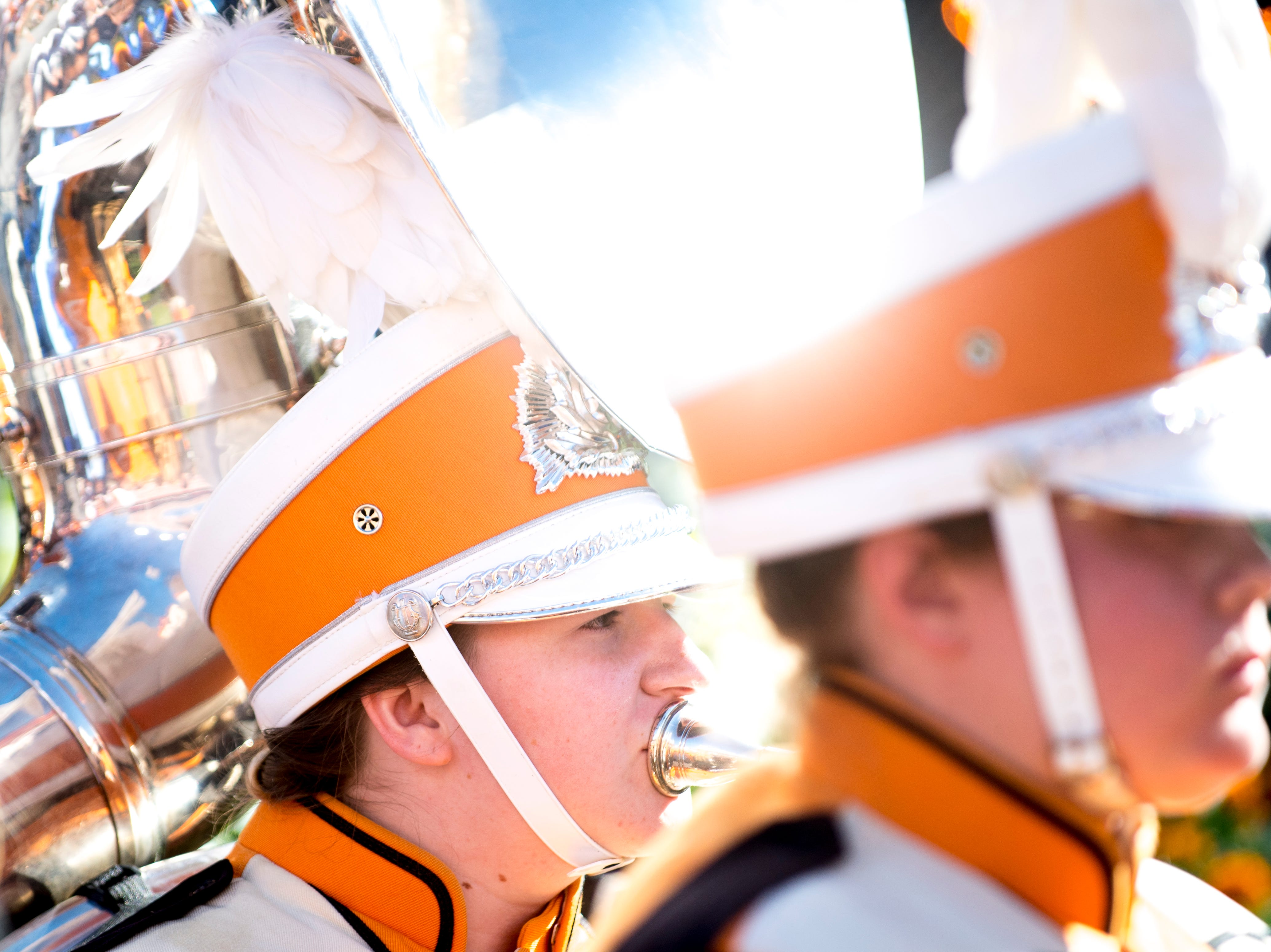 The Pride of the Southland Band marches into the stadium during a game between Tennessee and Auburn at Jordan-Hare Stadium in Auburn, Alabama on Saturday, October 13, 2018.