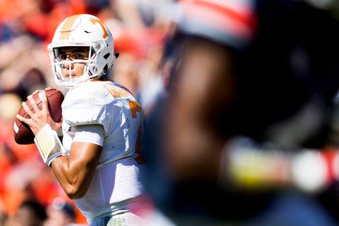 Tennessee quarterback Jarrett Guarantano (2) lines up a pass during a game between Tennessee and Auburn at Jordan-Hare Stadium in Auburn, Alabama on Saturday, October 13, 2018.