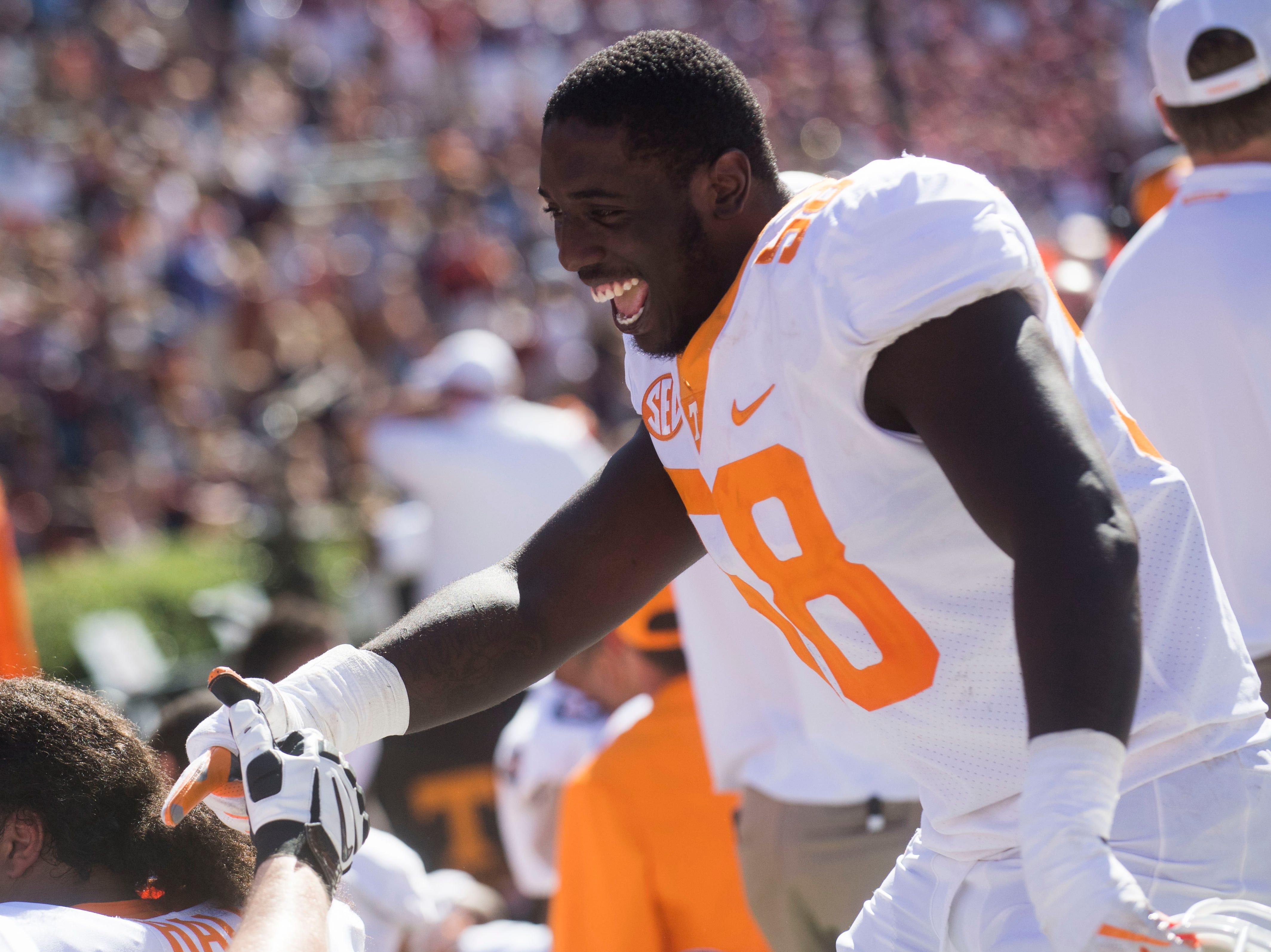 Tennessee offensive lineman Jahmir Johnson celebrates after Tennessee's win over Auburn at Jordan-Hare Stadium in Auburn, Ala. Saturday, Oct. 13, 2018. Tennessee defeated Auburn 30-24.