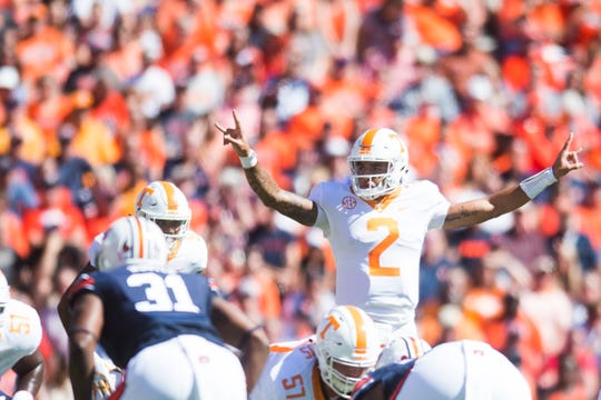 Tennessee quarterback Jarrett Guarantano (2) gestures during a game between Tennessee and Auburn at Jordan-Hare Stadium in Auburn, Alabama on Saturday, October 13, 2018.