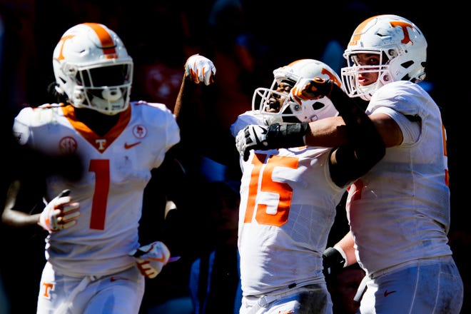 Tennessee wide receiver Jauan Jennings (15) celebrates a touchdown during a game between Tennessee and Auburn at Jordan-Hare Stadium in Auburn, Alabama on Saturday, October 13, 2018.