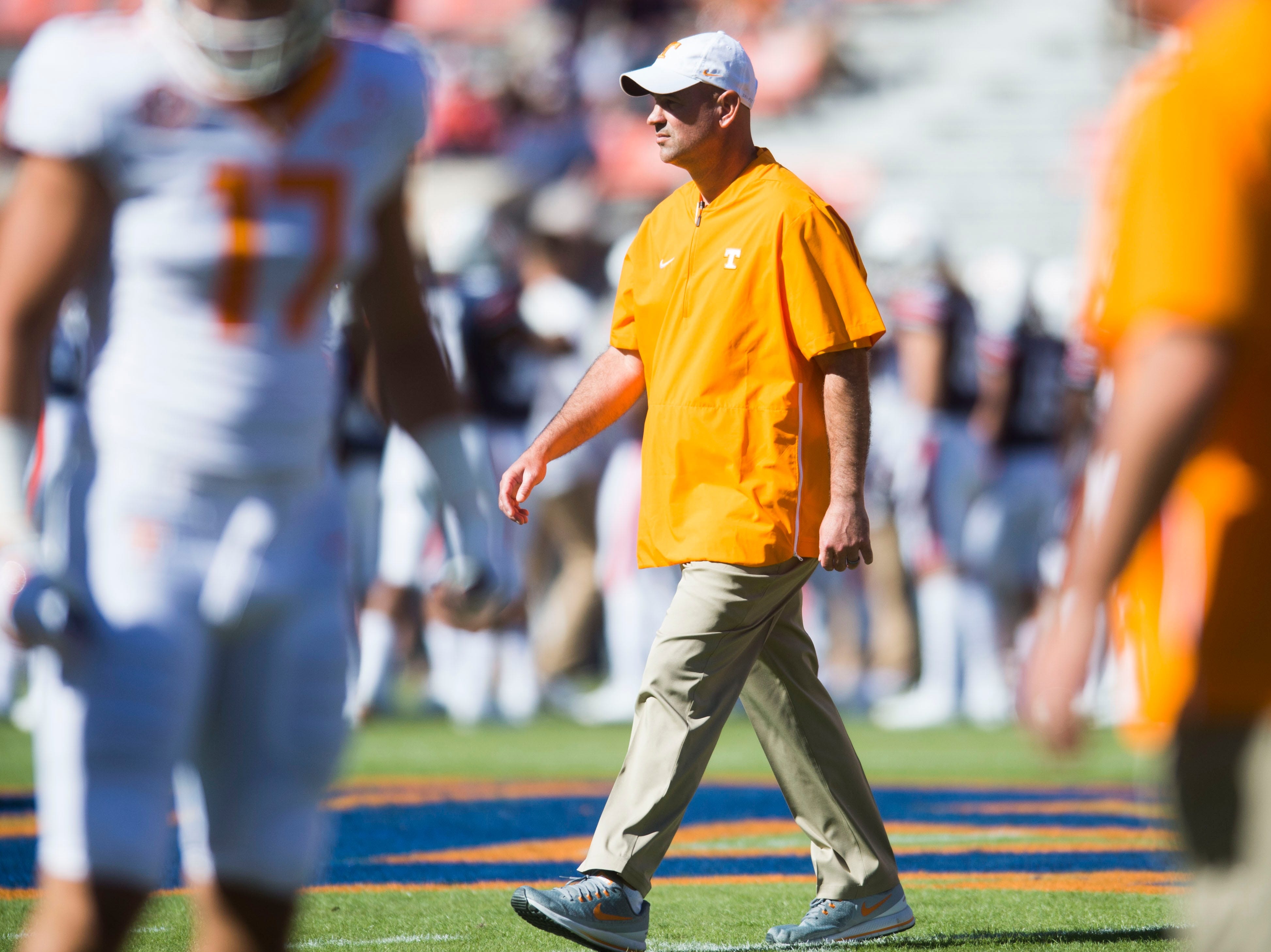 Tennessee Head Coach Jeremy Pruitt walks on the field before a game between Tennessee and Auburn at Jordan-Hare Stadium in Auburn, Ala. Saturday, Oct. 13, 2018.