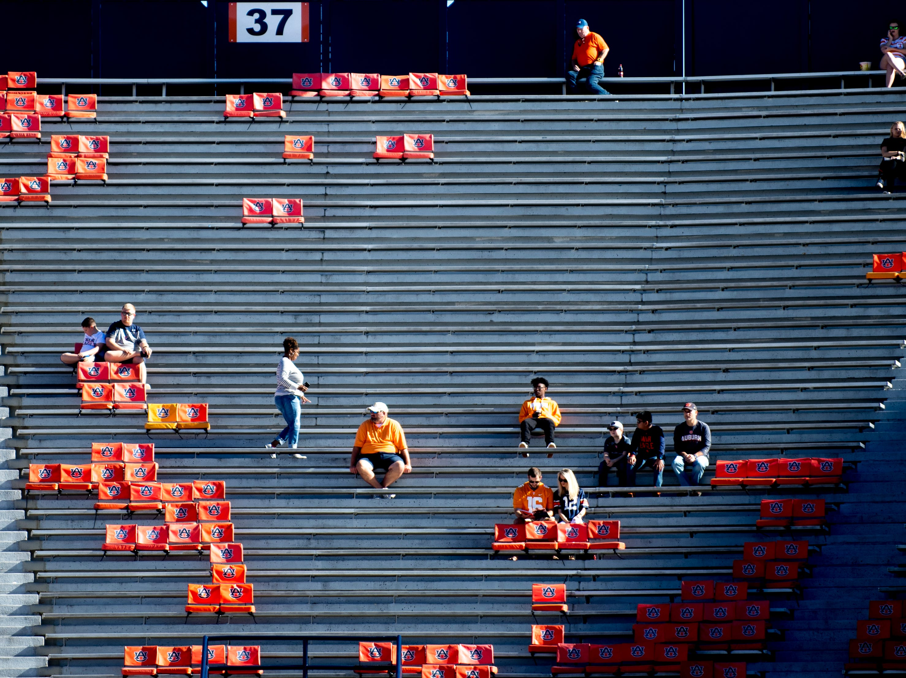 Fans find their seats in the stands during a game between Tennessee and Auburn at Jordan-Hare Stadium in Auburn, Alabama on Saturday, October 13, 2018.