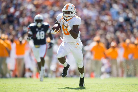 Tennessee running back Ty Chandler (8) runs with the ball towards the end zone during a game between Tennessee and Auburn at Jordan-Hare Stadium in Auburn, Ala. Saturday, Oct. 13, 2018.