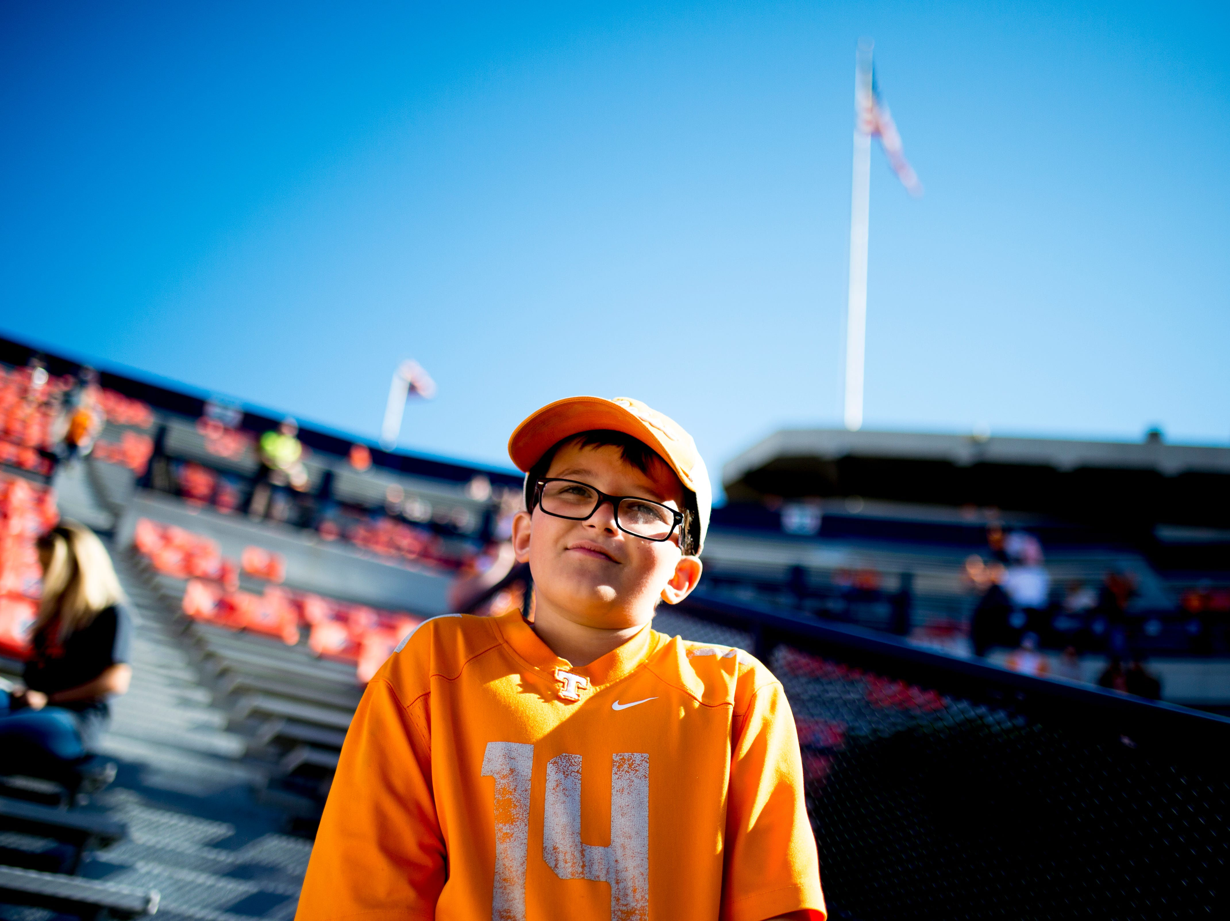 A young Vol fan looks onto the field during a game between Tennessee and Auburn at Jordan-Hare Stadium in Auburn, Alabama on Saturday, October 13, 2018.