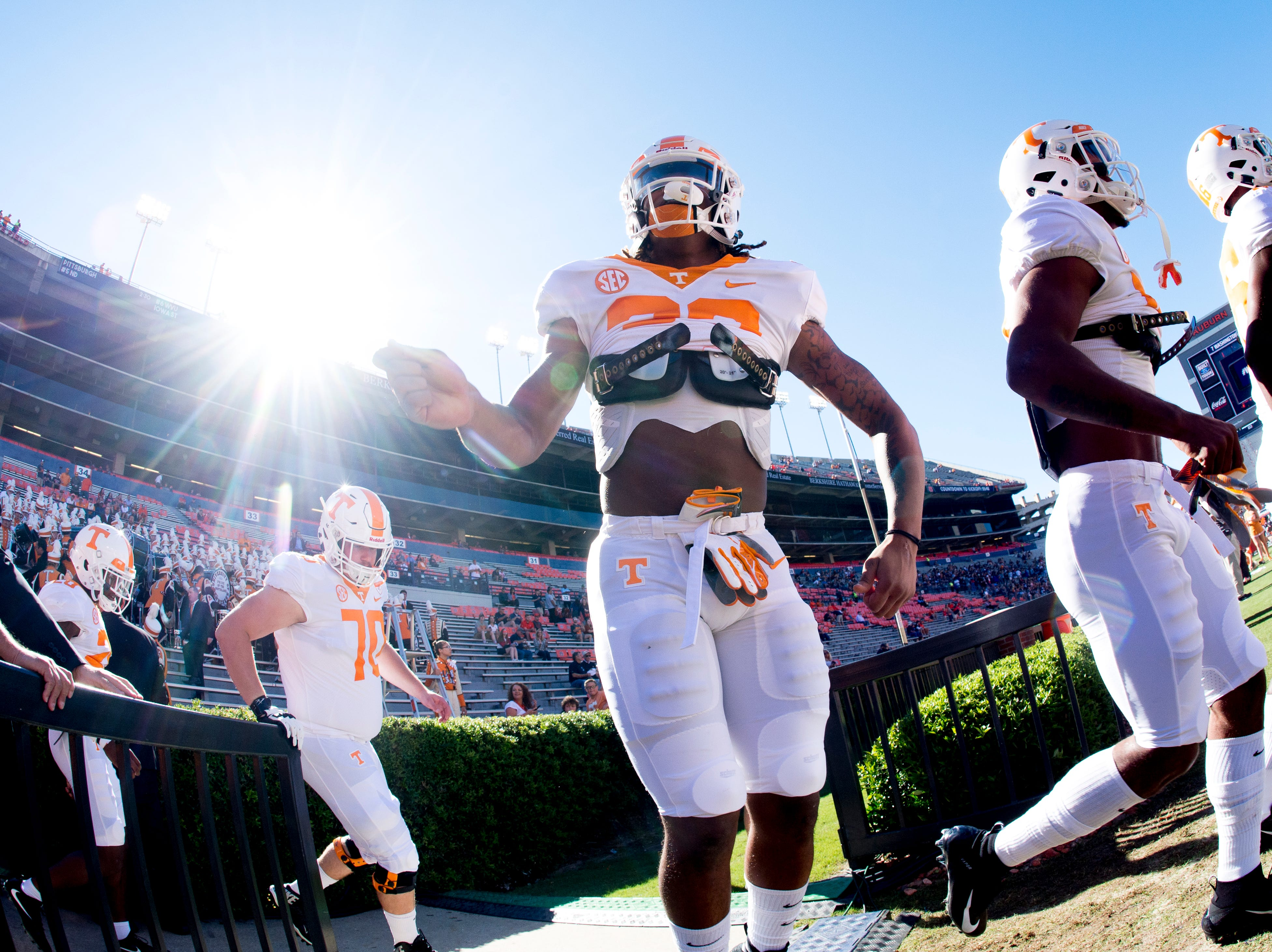 Tennessee running back Jeremy Banks (33) runs onto the field during a game between Tennessee and Auburn at Jordan-Hare Stadium in Auburn, Alabama on Saturday, October 13, 2018.