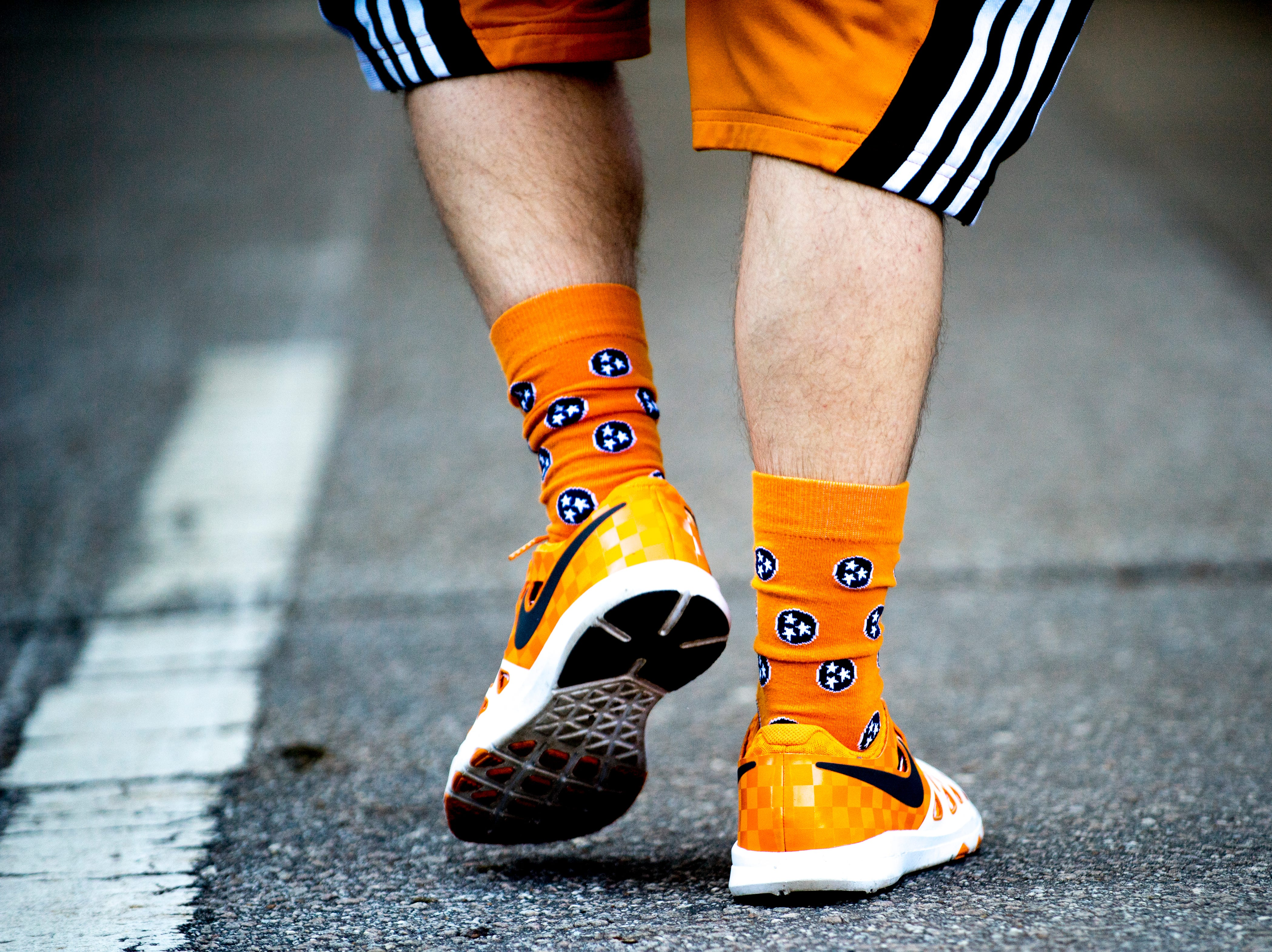 Vol fans sport Tennessee socks during a game between Tennessee and Auburn at Jordan-Hare Stadium in Auburn, Alabama on Saturday, October 13, 2018.