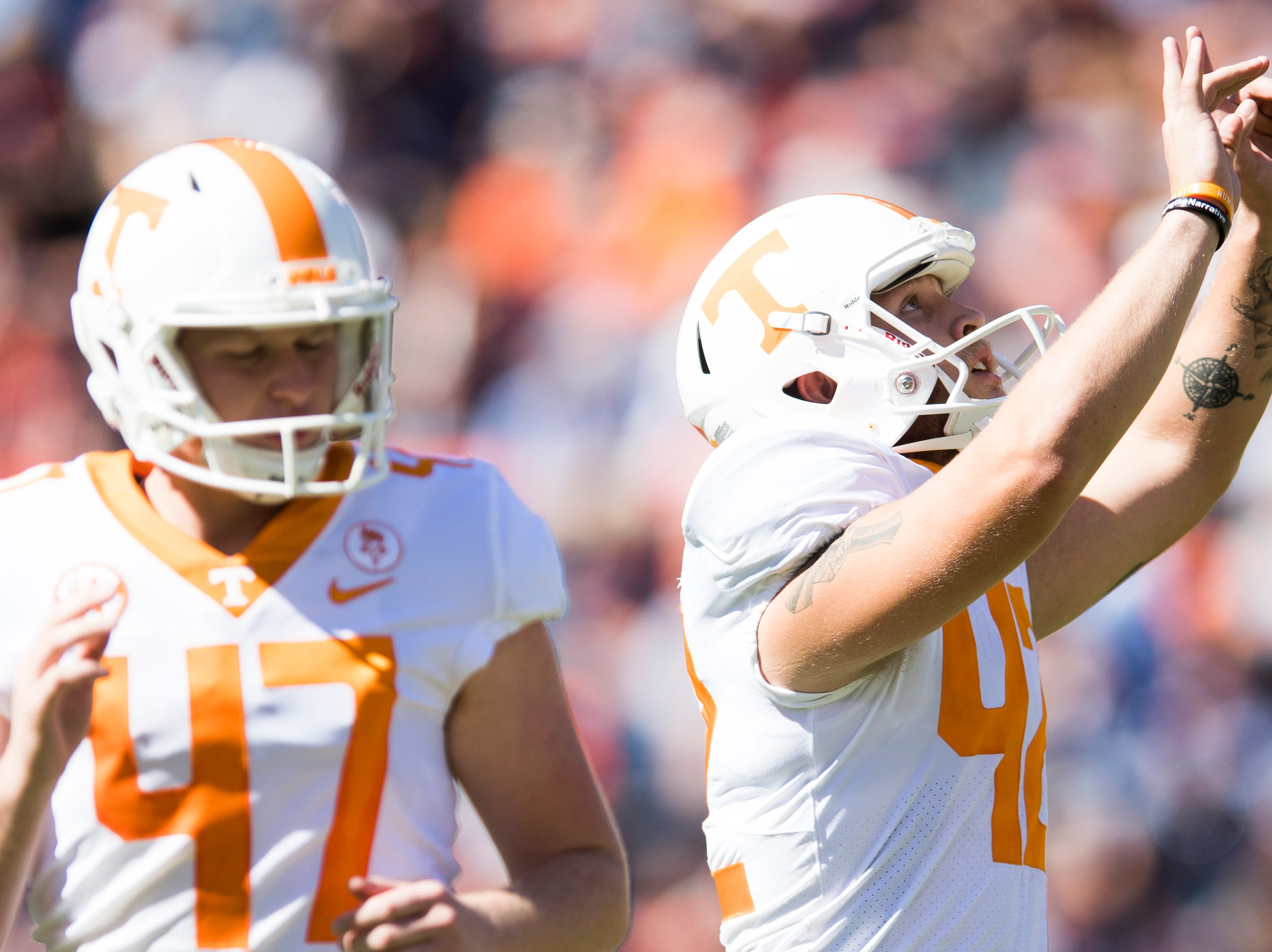 Tennessee placekicker Brent Cimaglia (42) celebrates after making a field goal during a game between Tennessee and Auburn at Jordan-Hare Stadium in Auburn, Alabama on Saturday, October 13, 2018.