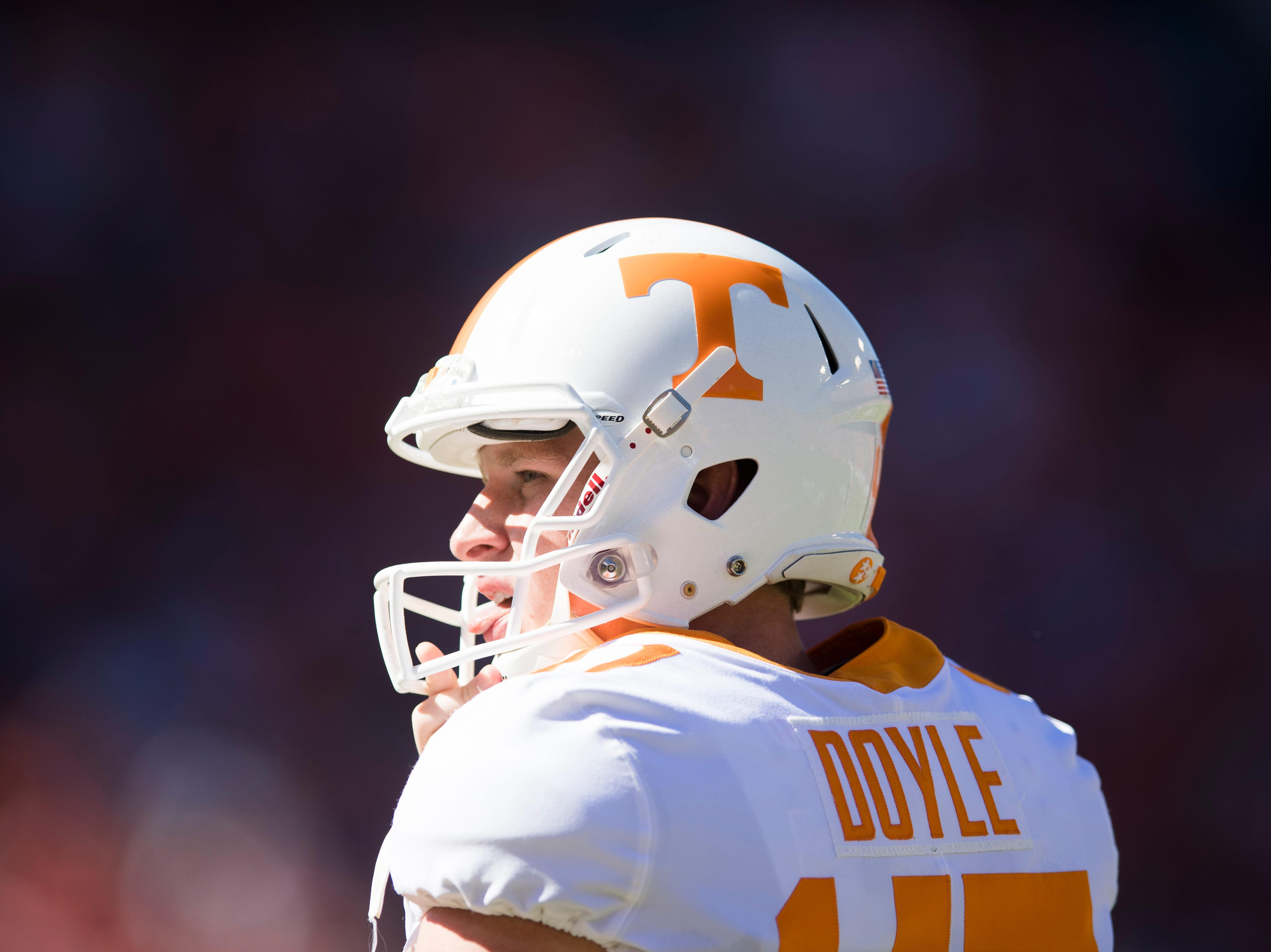 Tennessee punter Joe Doyle (47) looks on during a game between Tennessee and Auburn at Jordan-Hare Stadium in Auburn, Alabama on Saturday, October 13, 2018.