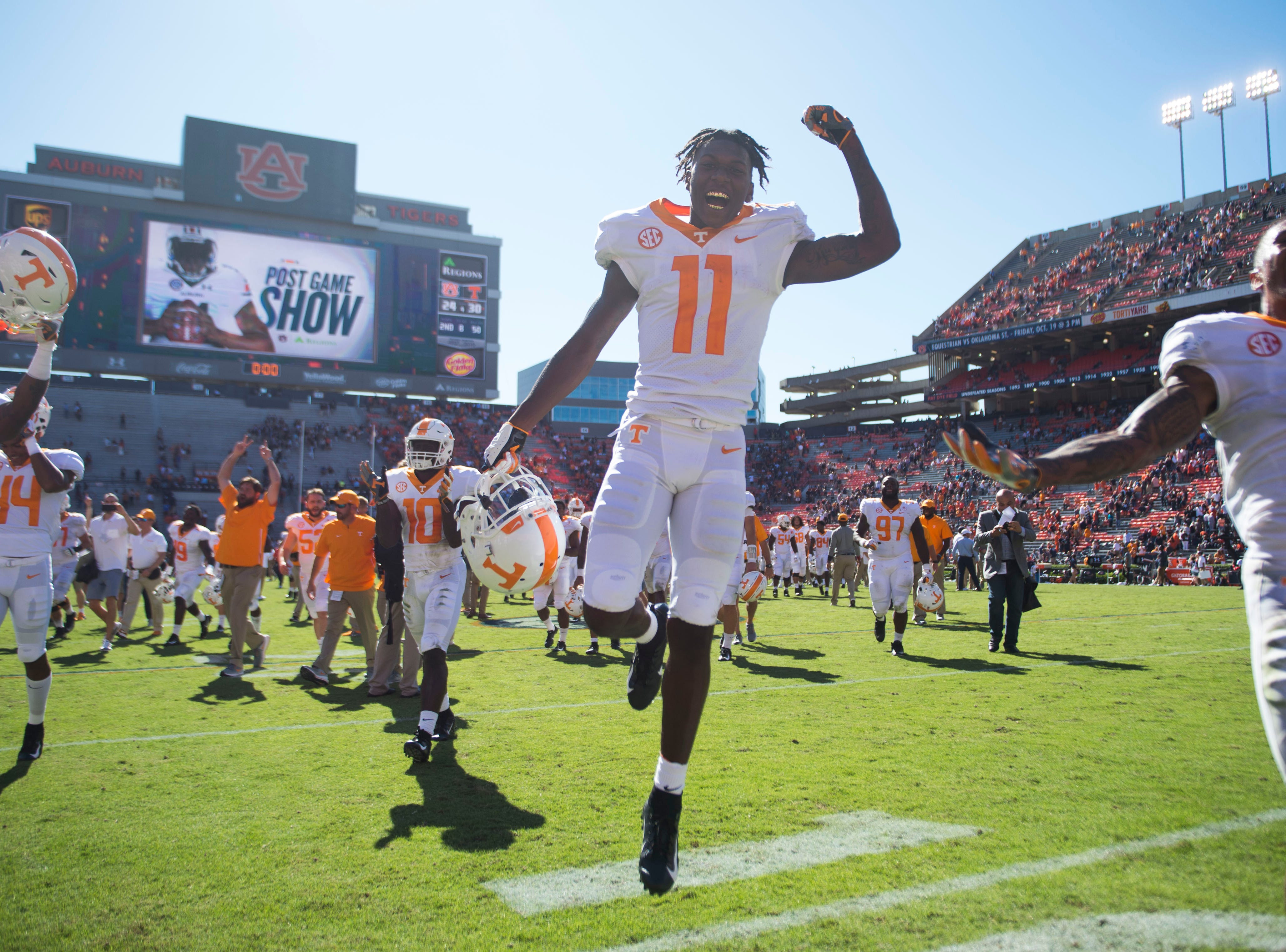 Tennessee wide receiver Jordan Murphy (11) runs off the field after a game between Tennessee and Auburn at Jordan-Hare Stadium in Auburn, Ala. Saturday, Oct. 13, 2018. Tennessee defeated Auburn 30-24.