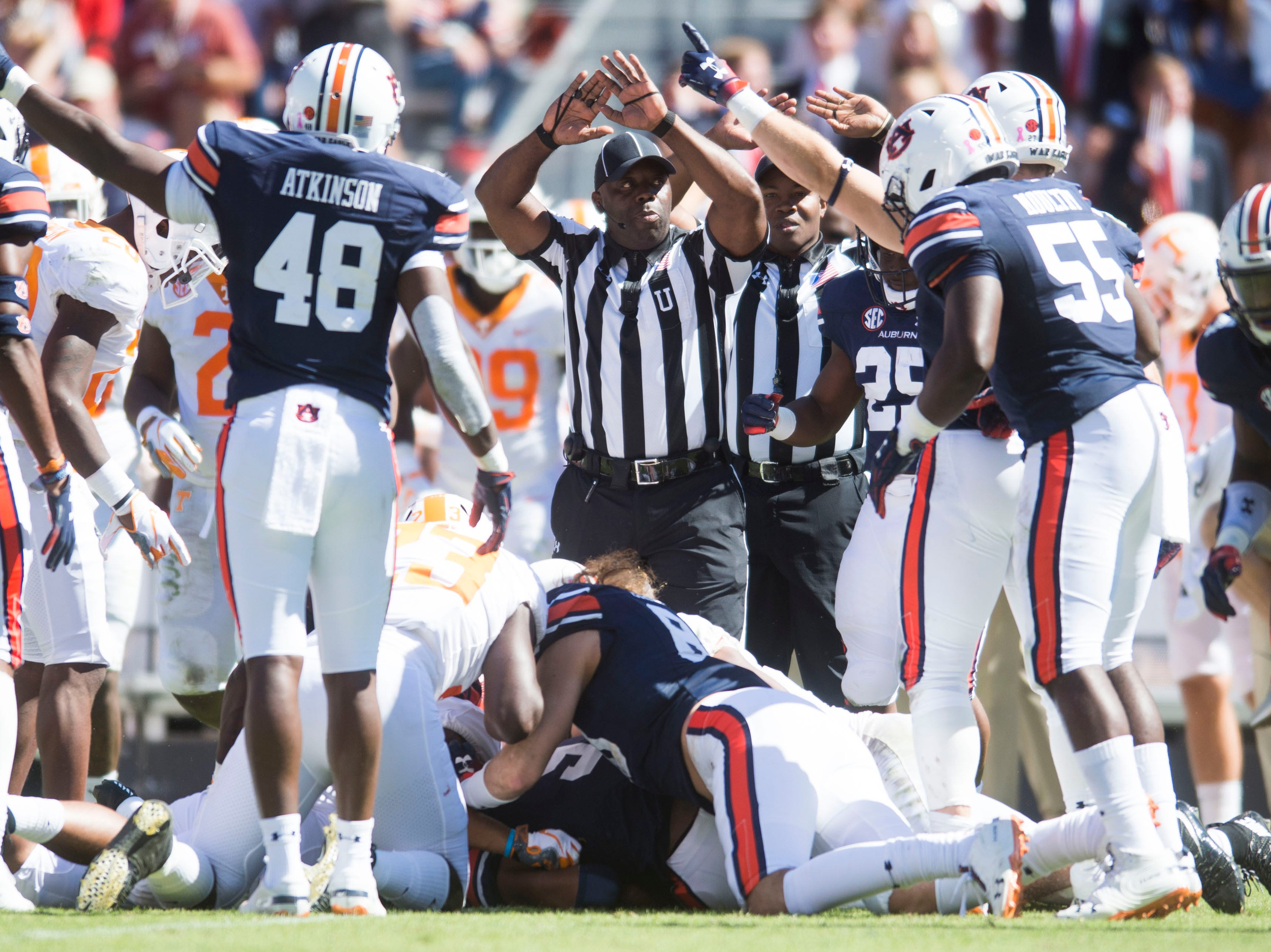 An official stops play during a game between Tennessee and Auburn at Jordan-Hare Stadium in Auburn, Ala. Saturday, Oct. 13, 2018. Tennessee defeated Auburn 30-24.