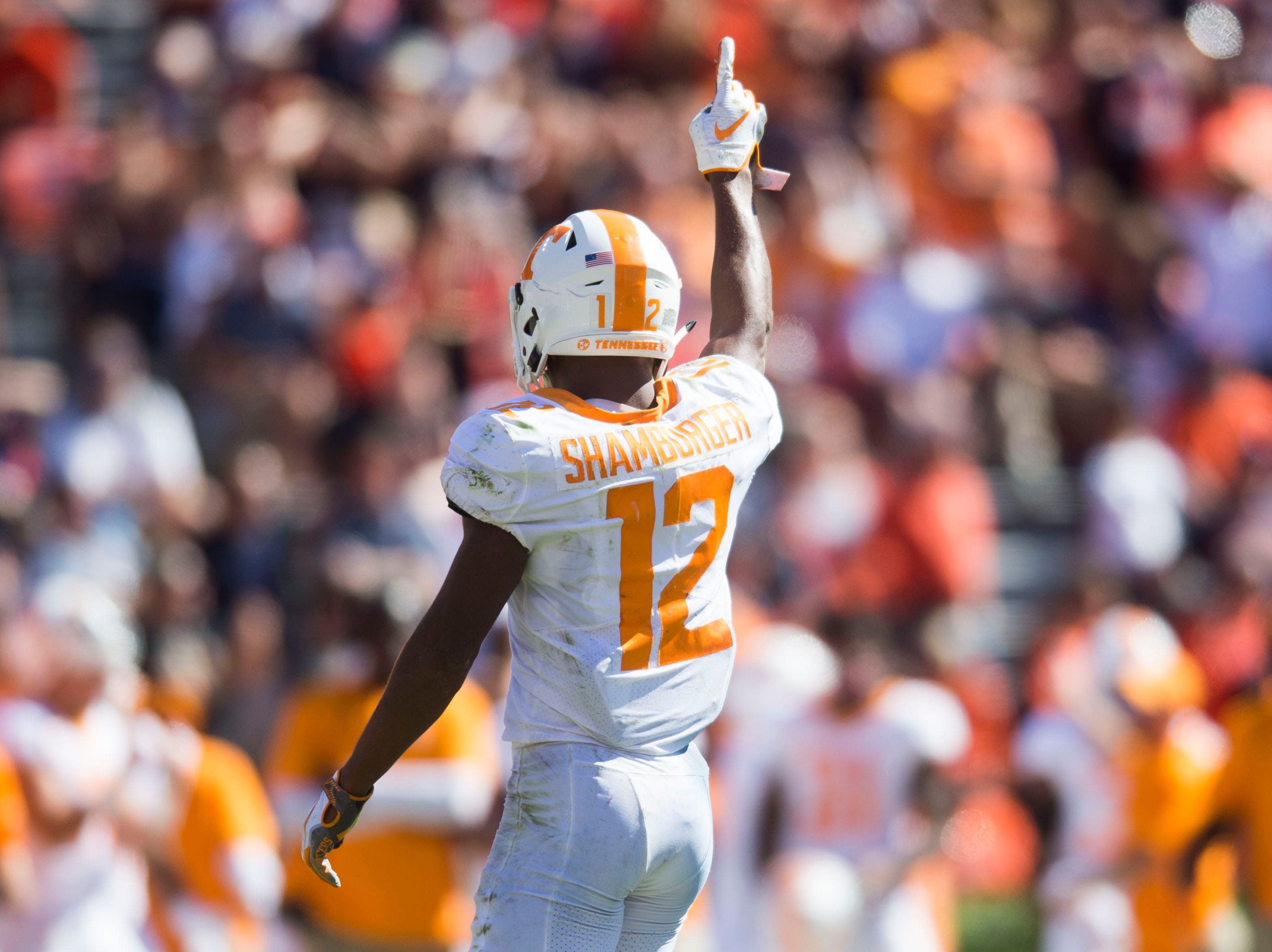Tennessee defensive back Shawn Shamburger (12) celebrates during a game between Tennessee and Auburn at Jordan-Hare Stadium in Auburn, Ala. Saturday, Oct. 13, 2018. Tennessee defeated Auburn 30-24.