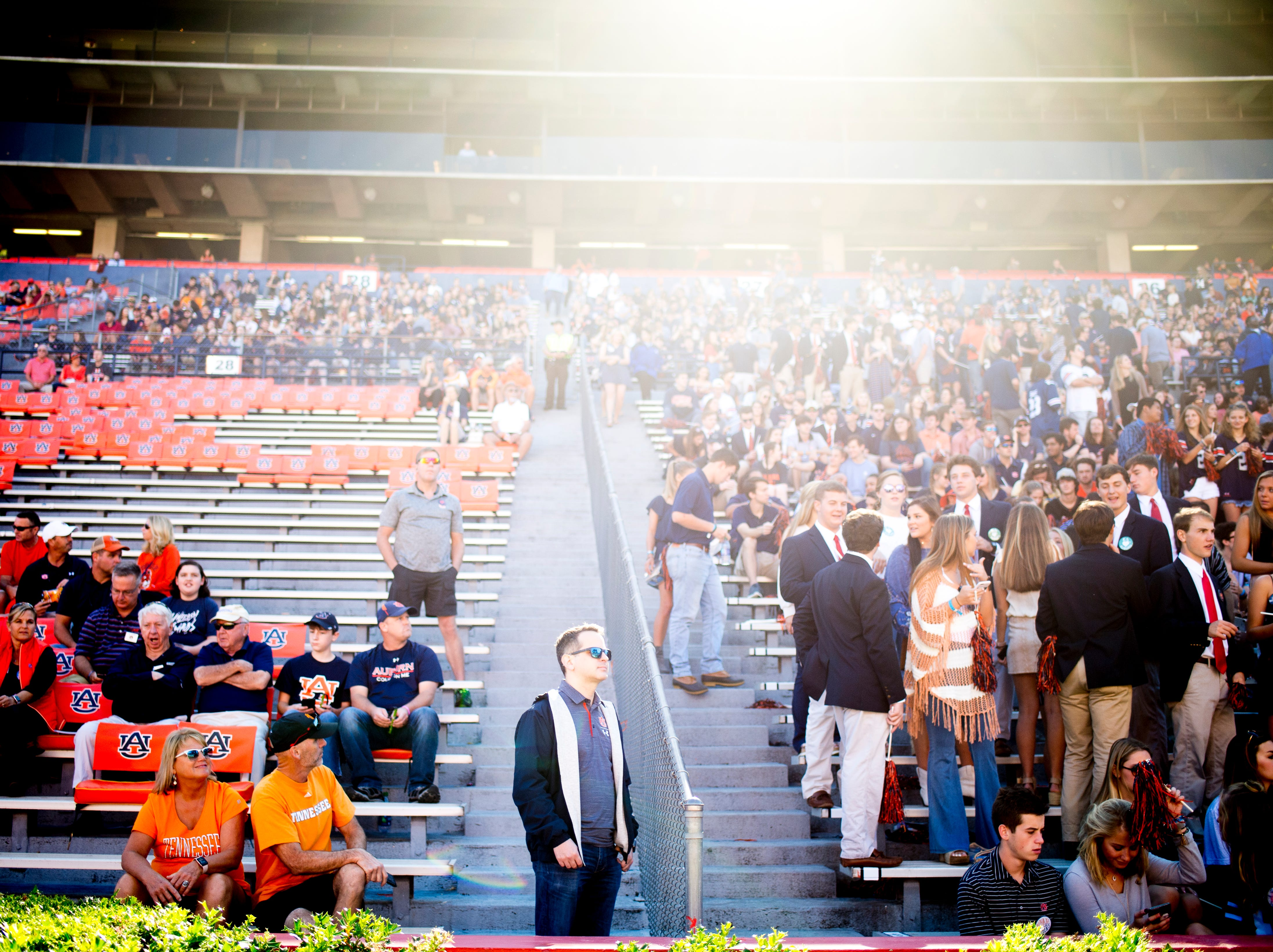 Fans will the stadium during a game between Tennessee and Auburn at Jordan-Hare Stadium in Auburn, Alabama on Saturday, October 13, 2018.