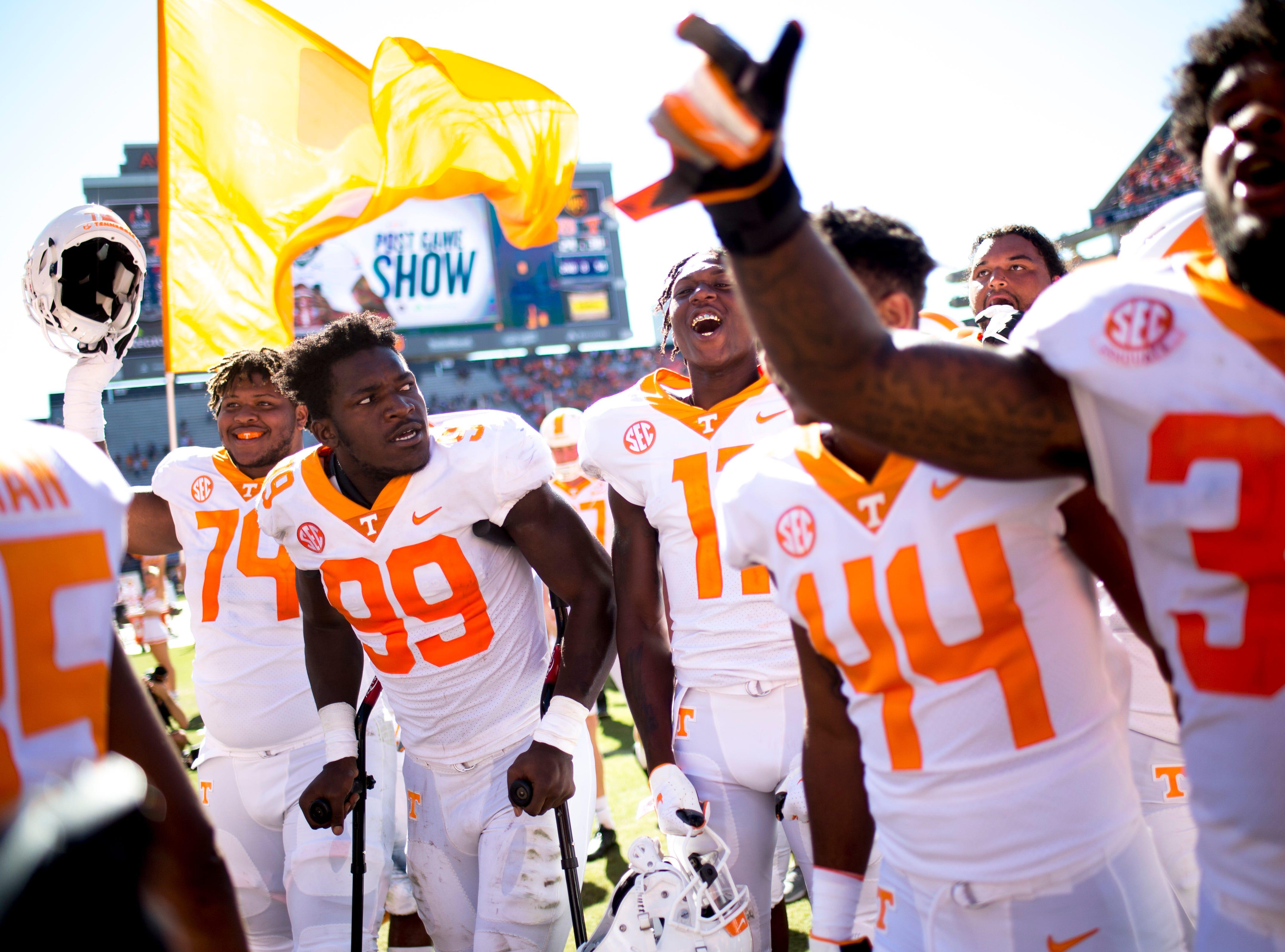 Players celebrate their 30-24 win over Auburn at Jordan-Hare Stadium in Auburn, Alabama on Saturday, October 13, 2018.