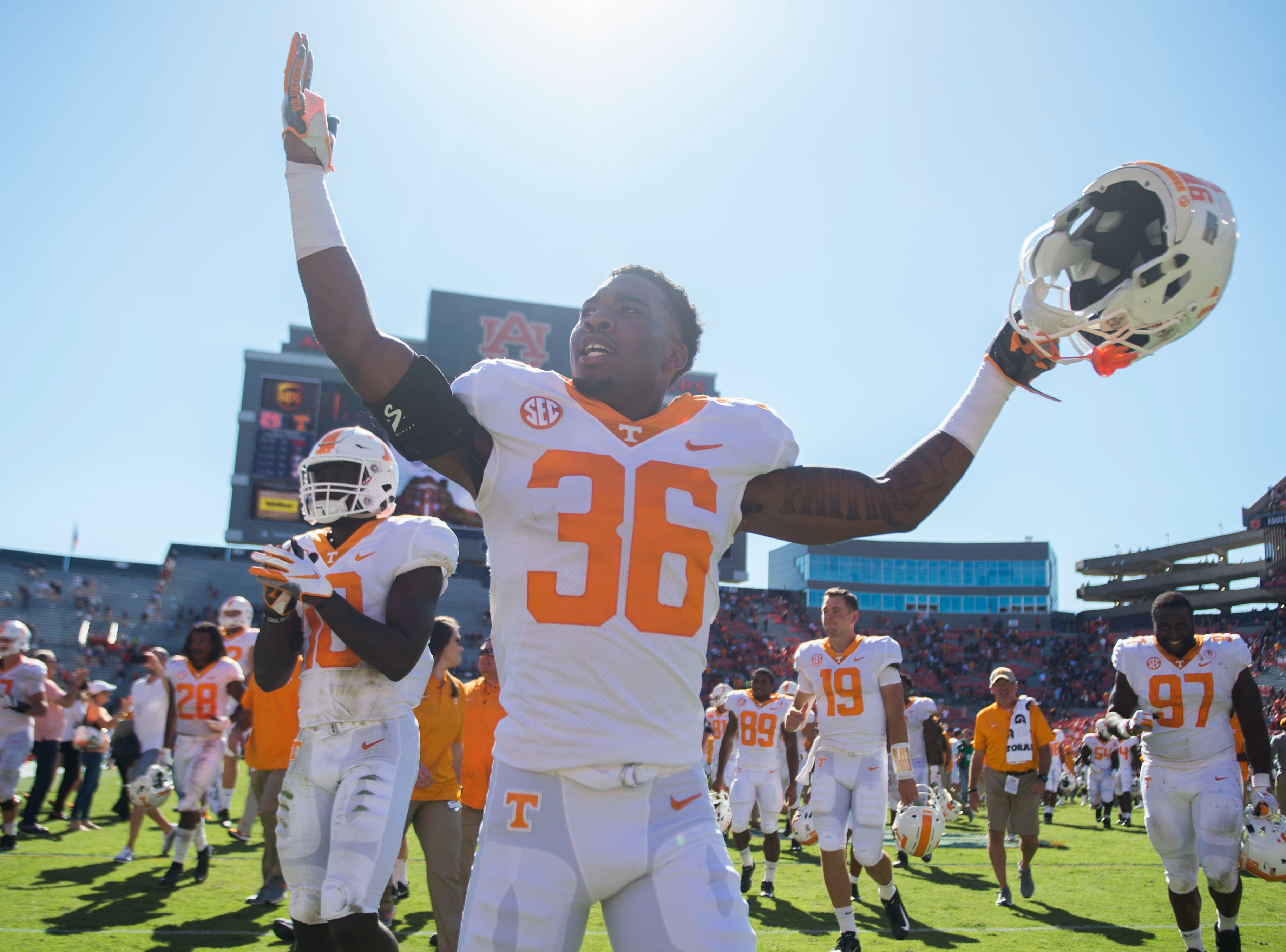 Tennessee defensive back Terrell Bailey (36) celebrates after a game between Tennessee and Auburn at Jordan-Hare Stadium in Auburn, Ala. Saturday, Oct. 13, 2018. Tennessee defeated Auburn 30-24.