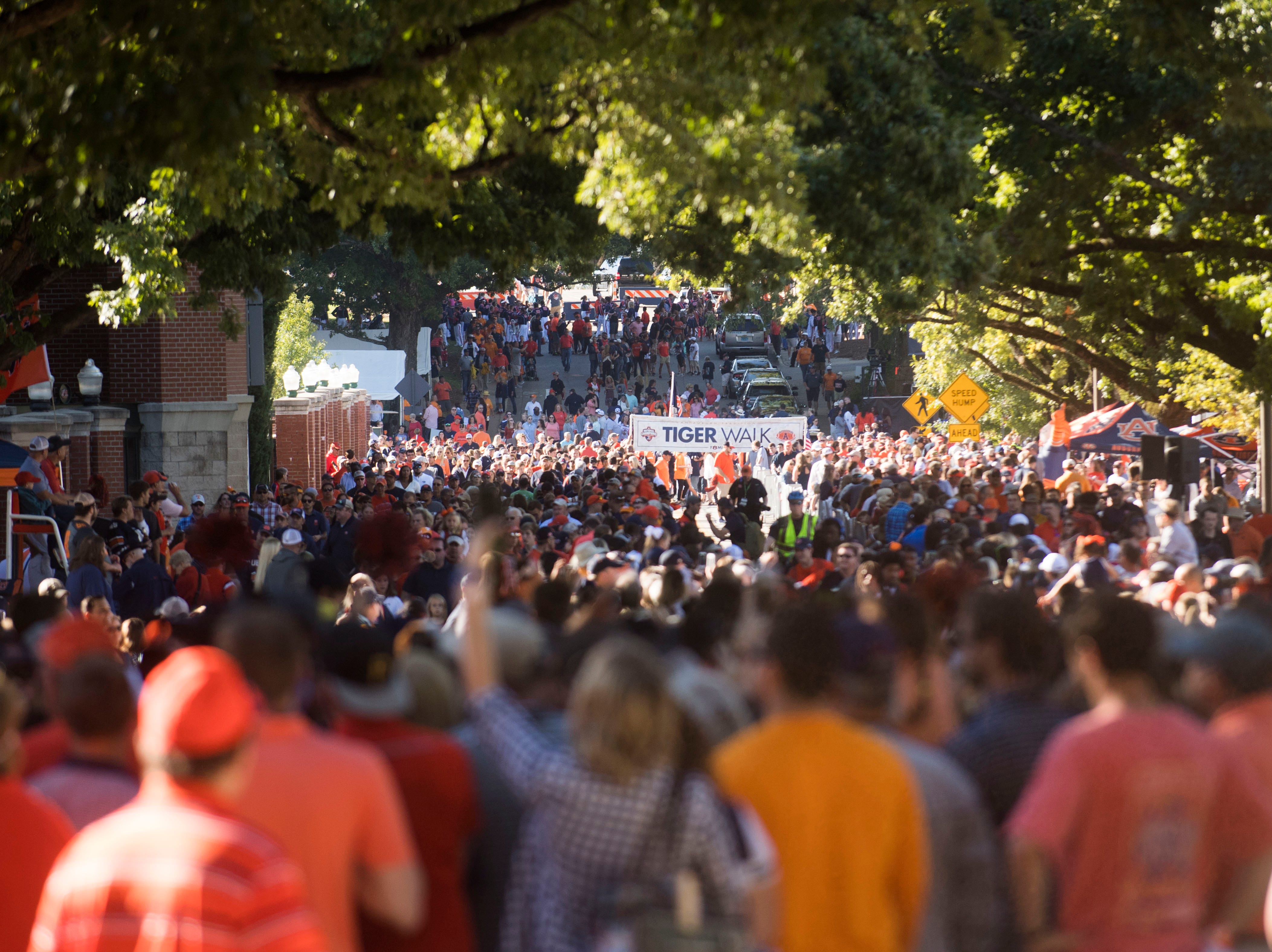 Auburn fans gather for the tiger walk before a game between Tennessee and Auburn at Jordan-Hare Stadium in Auburn, Ala. Saturday, Oct. 13, 2018.