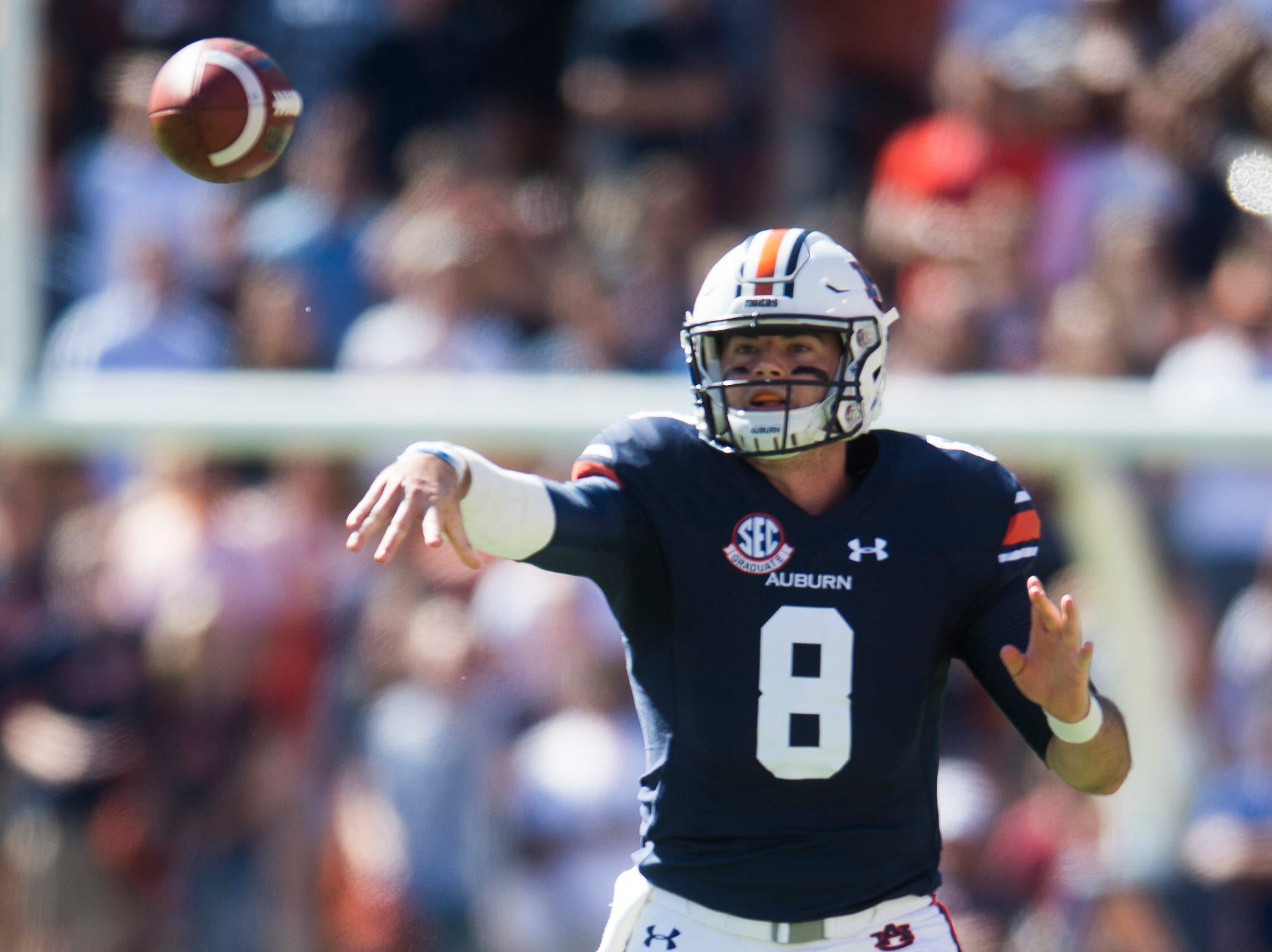 Auburn quarterback Jarrett Stidham (8) throws a pass during a game between Tennessee and Auburn at Jordan-Hare Stadium in Auburn, Alabama on Saturday, October 13, 2018.