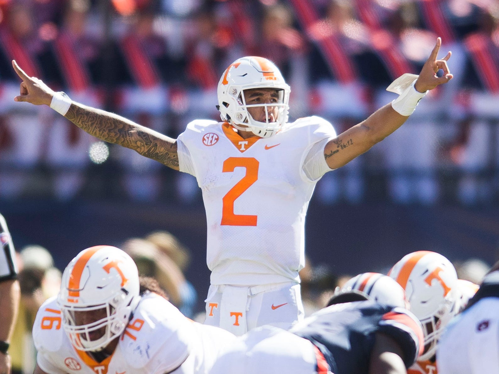 Tennessee quarterback Jarrett Guarantano (2) calls a play during a game between Tennessee and Auburn at Jordan-Hare Stadium in Auburn, Ala. Saturday, Oct. 13, 2018. Tennessee defeated Auburn 30-24.