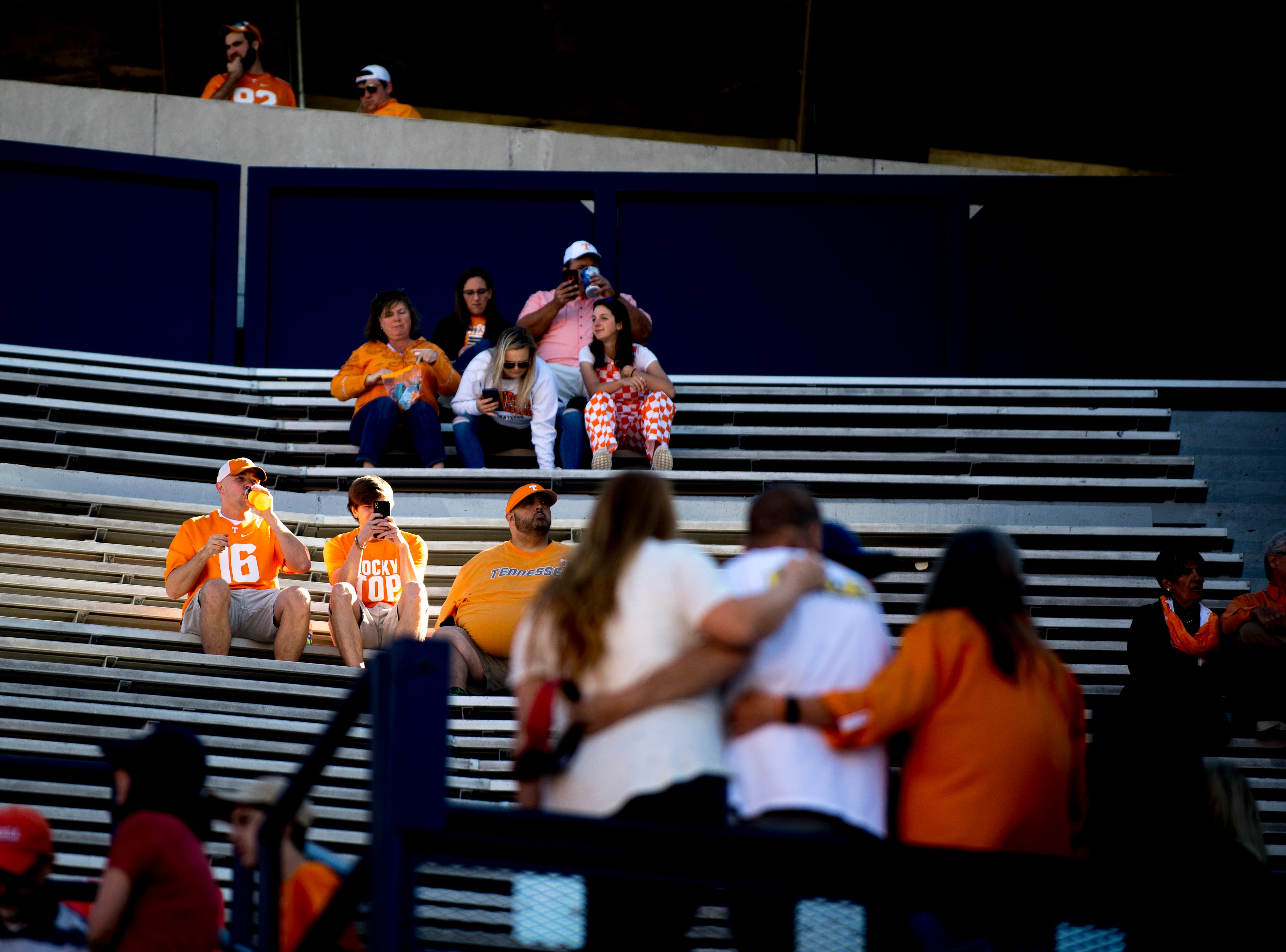 Vol fans find their seats during a game between Tennessee and Auburn at Jordan-Hare Stadium in Auburn, Alabama on Saturday, October 13, 2018.