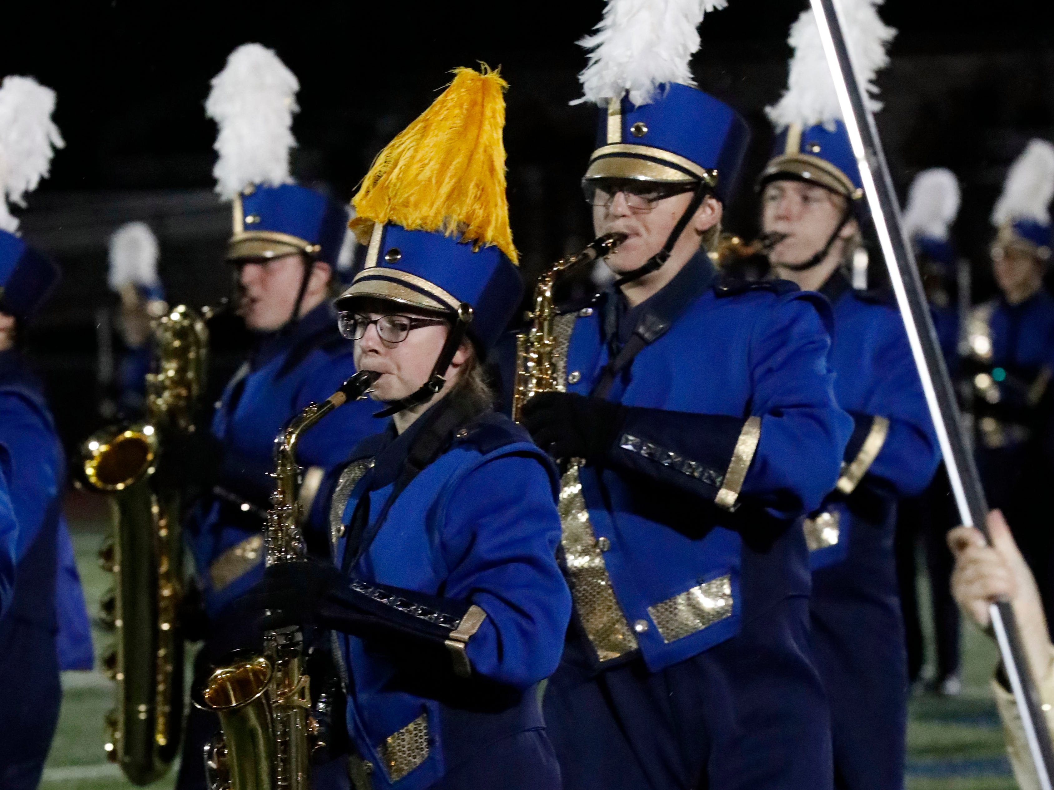 The Lancaster Band of Gold performed during halftime of Friday night's football game, Oct. 12, 2018, at Fulton Field in Lancaster.