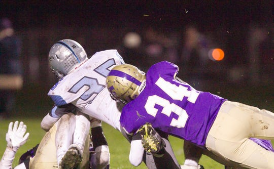 Linebacker Jack Lampman (34) is one of three juniors who are second-year starters on the Fowlerville defense.