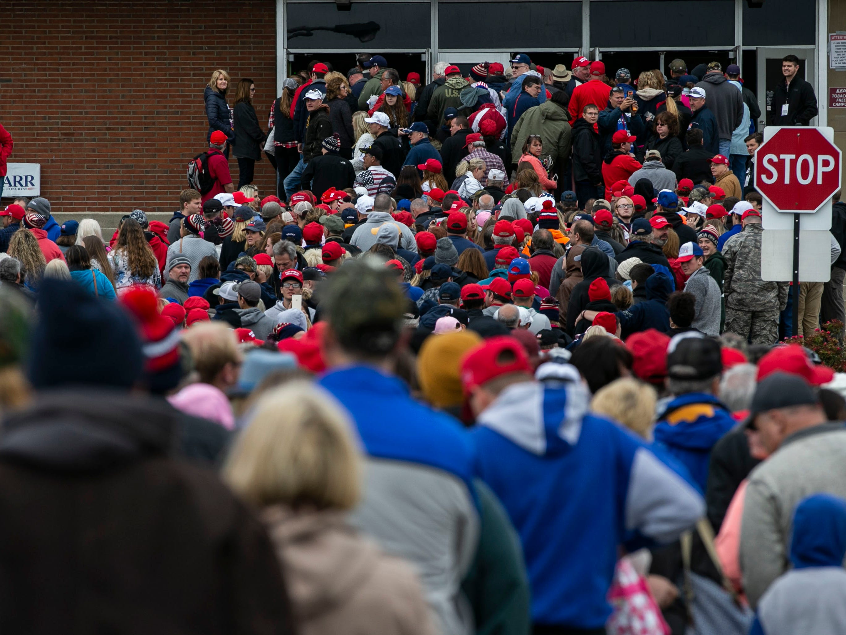 People crowded the front of Alumni Coliseum Saturday afternoon in anticipation for President Donald Trump's speech.