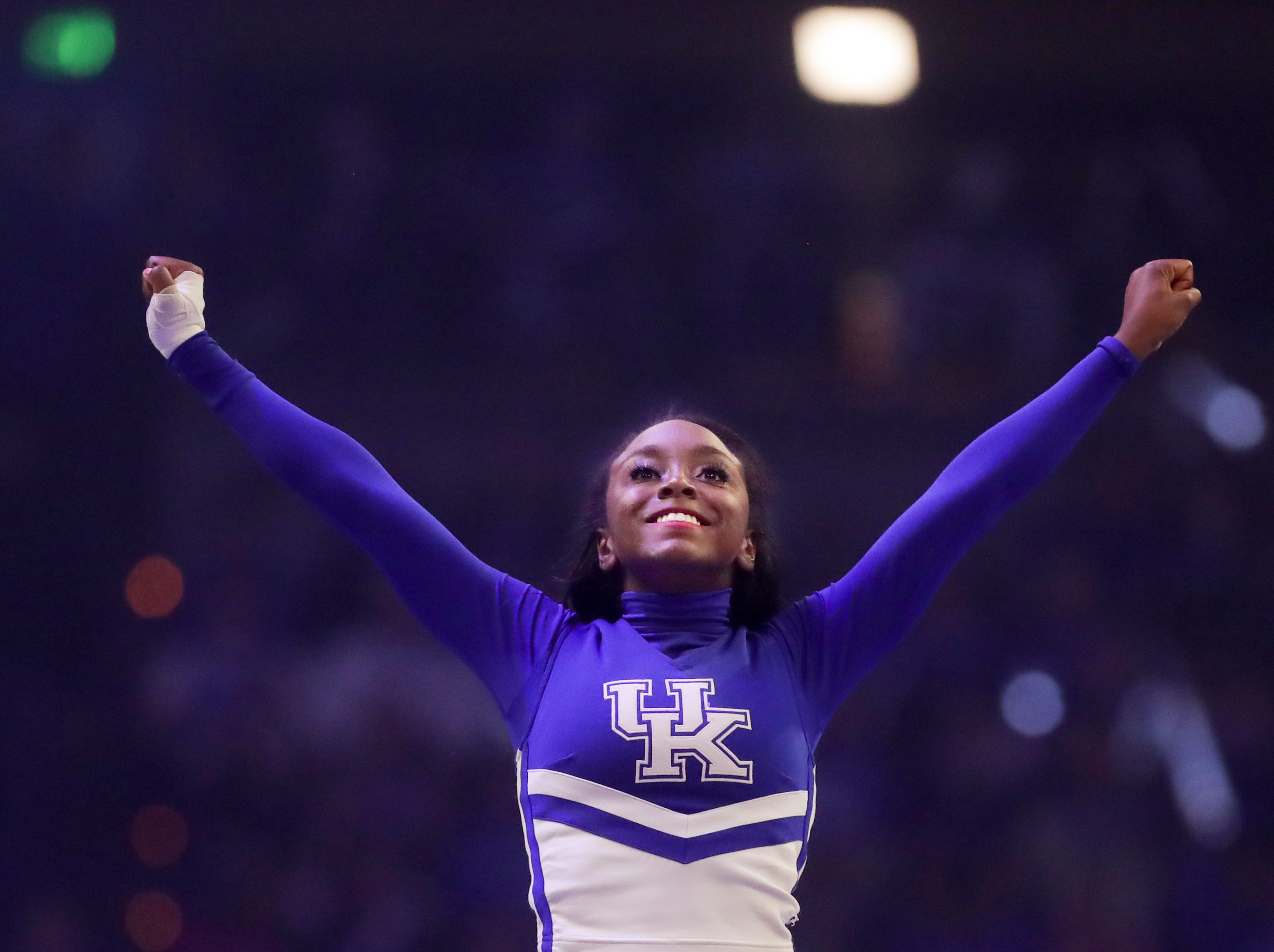 Kentucky Wildcats cheer squad performs at Big Blue Madness in Lexington, Kentucky.