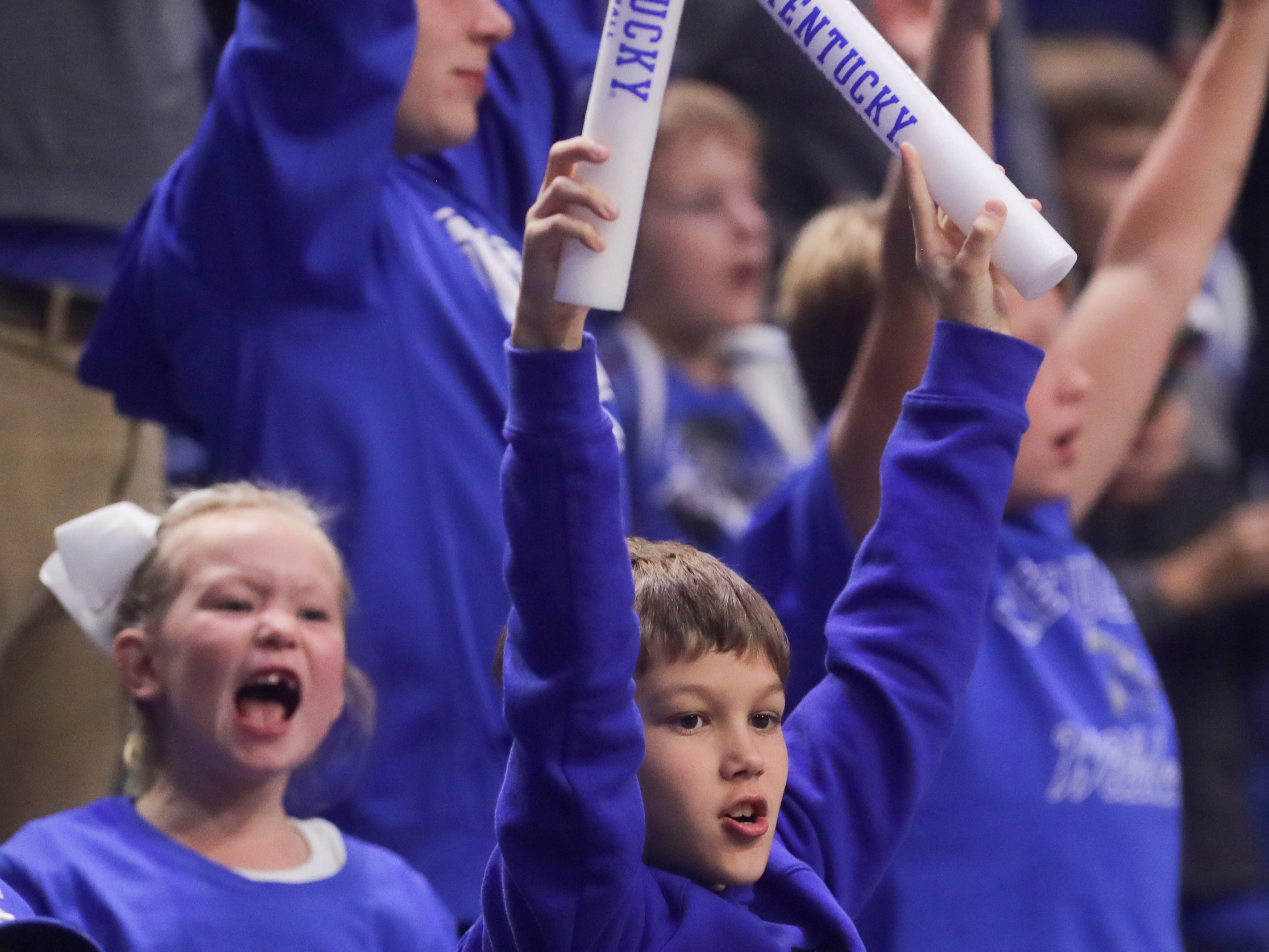 Fans cheer on the team at Big Blue Madness in Lexington, Kentucky.