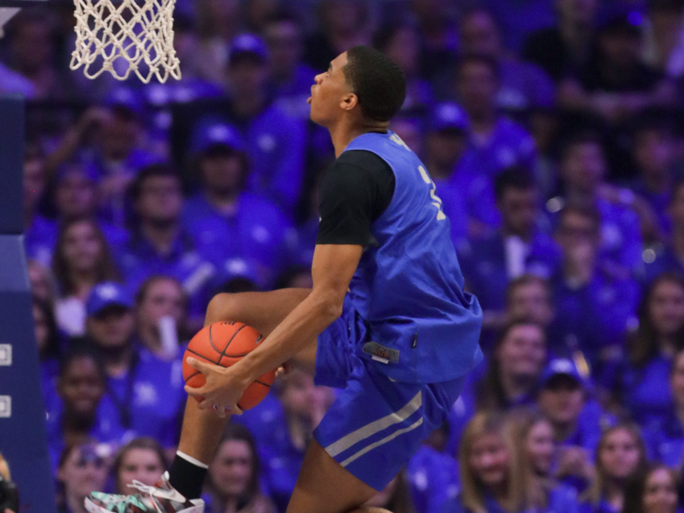 Kentucky Keldon Johnson with one of his dunk attempts contest at Big Blue Madness in Lexington, Kentucky.