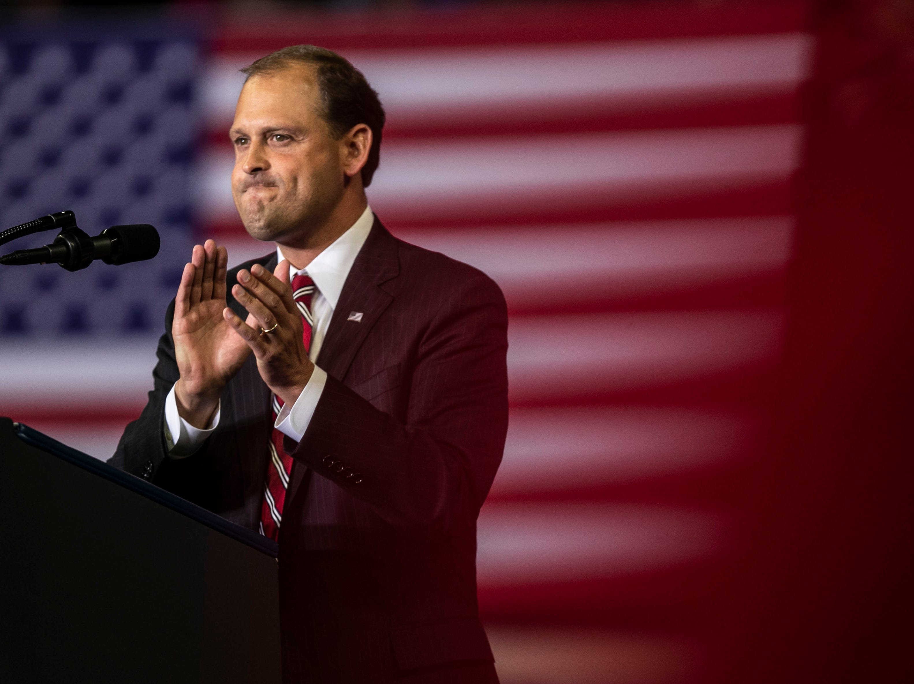 Andy Barr vowed to help President Donald Trump 'build the wall' Saturday night in Richmond while campaigning.