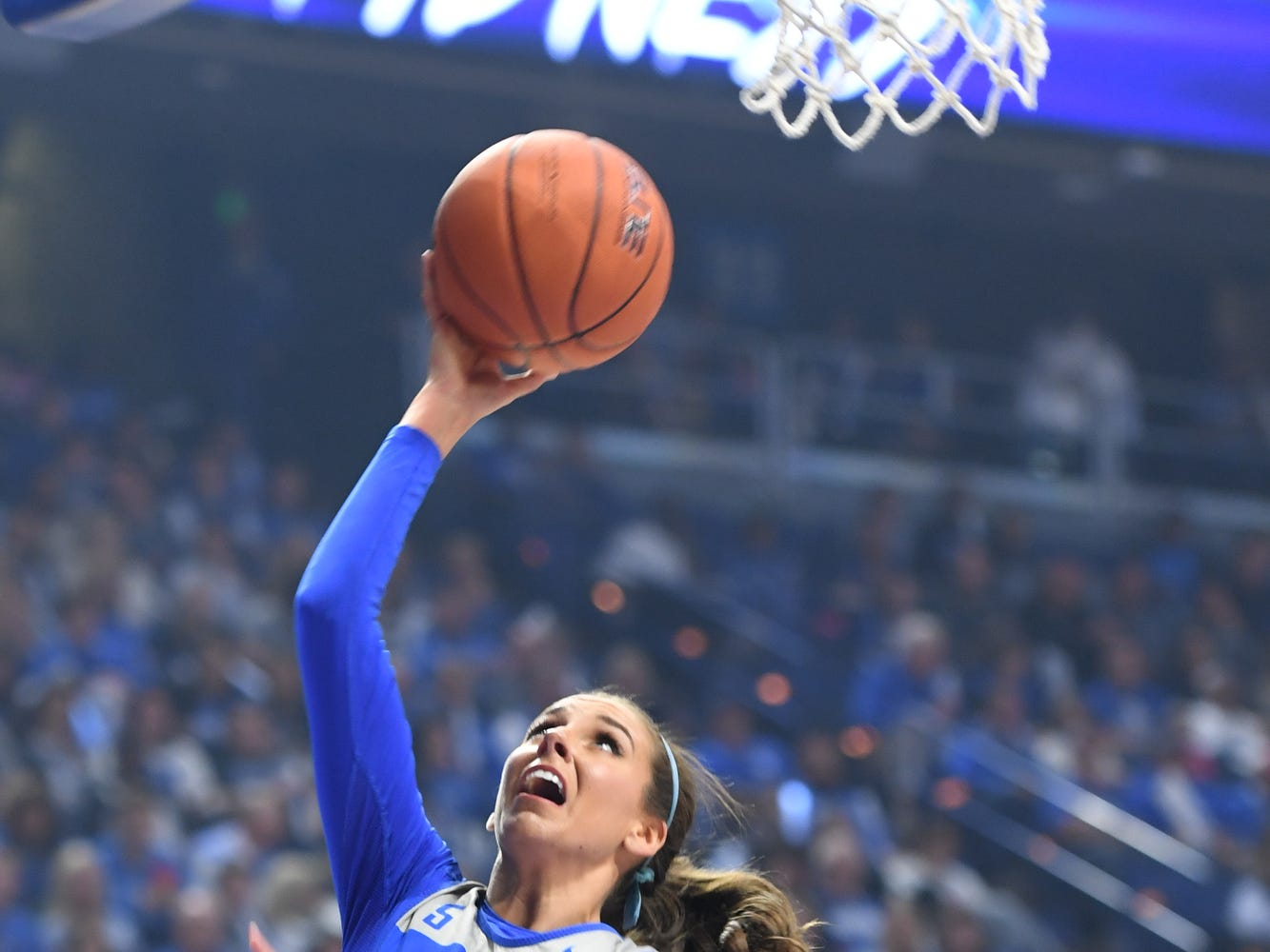 Freshman Blair Green lays up the ball during the University of Kentucky basketball's annual Big Blue Madness at Rupp Arena in Lexington, Kentucky on Friday, Oct. 12, 2018.