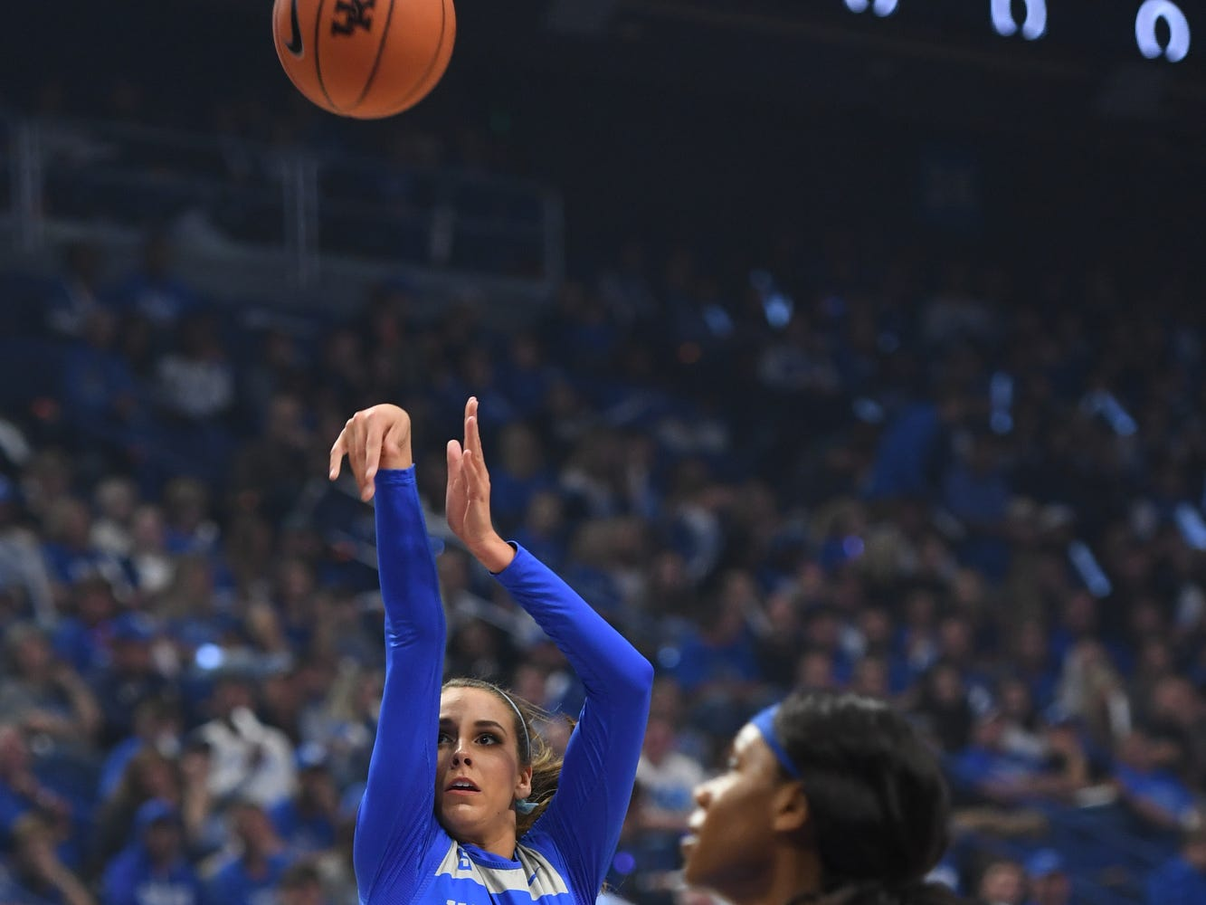 Freshman Blair Green shoots during the University of Kentucky basketball's annual Big Blue Madness at Rupp Arena in Lexington, Kentucky on Friday, Oct. 12, 2018.