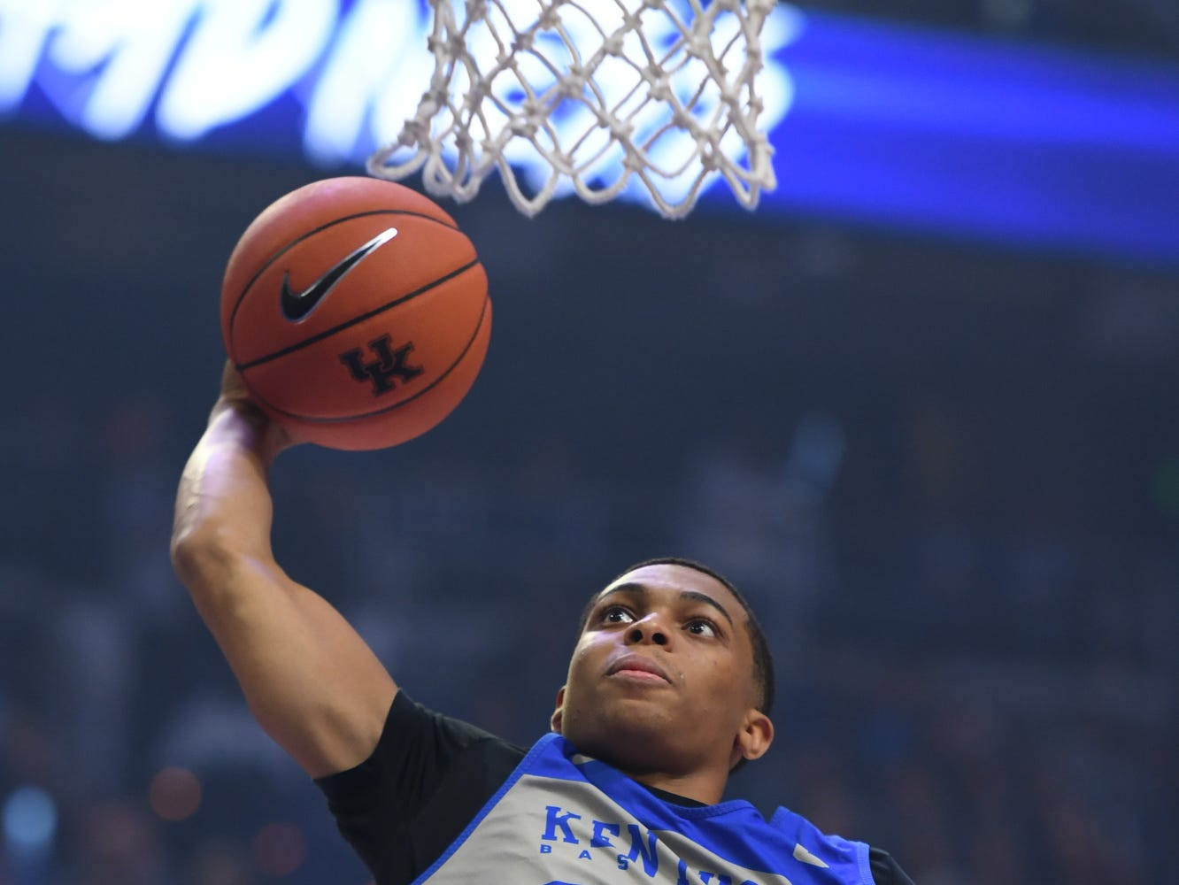 Freshman Keldon Johnson dunks during the University of Kentucky basketball's annual Big Blue Madness at Rupp Arena in Lexington, Kentucky on Friday, Oct. 12, 2018.