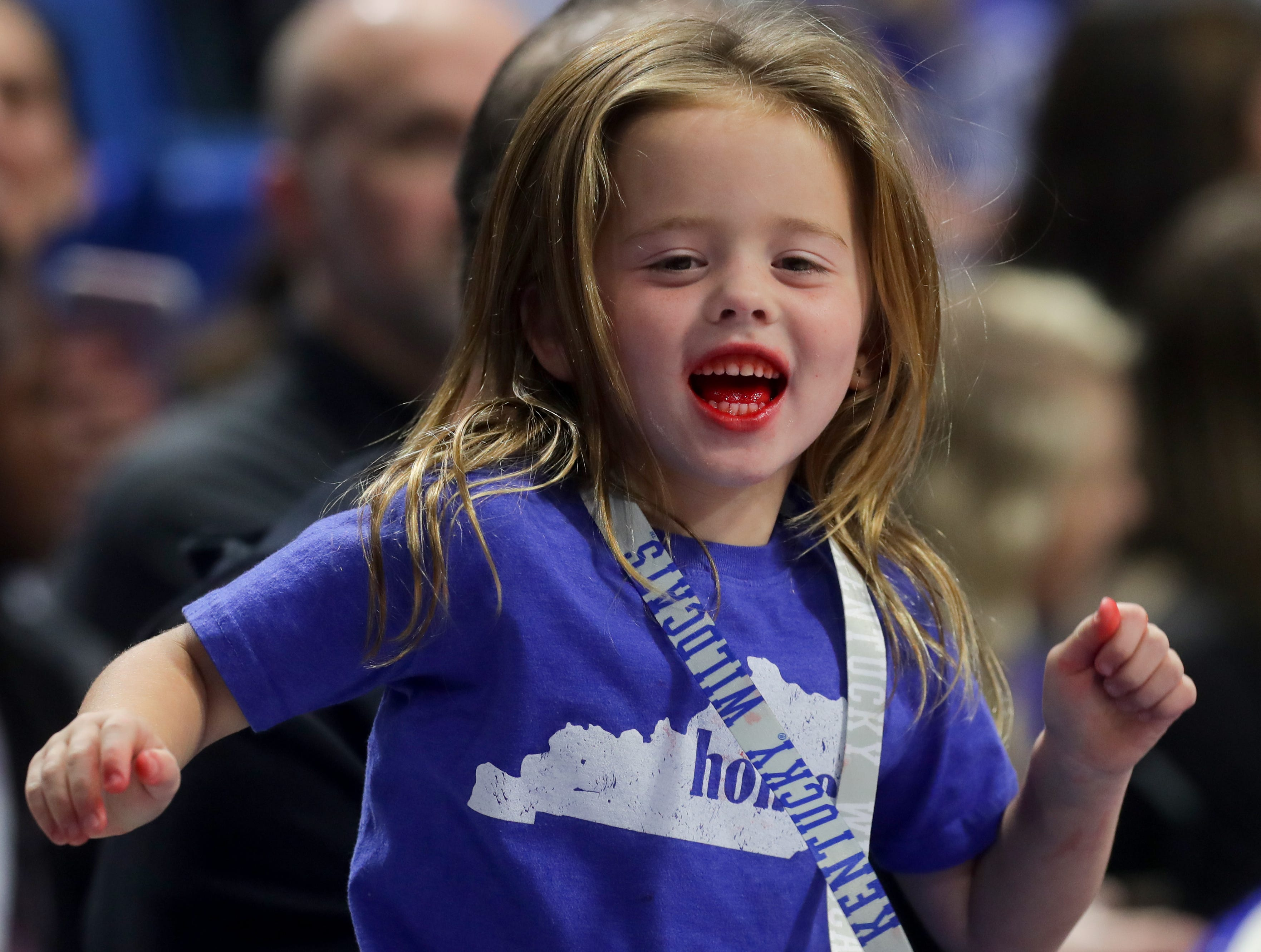 Matthew Mitchell's youngest, Presley Blue, cheered on the team at Big Blue Madness in Lexington, Kentucky.