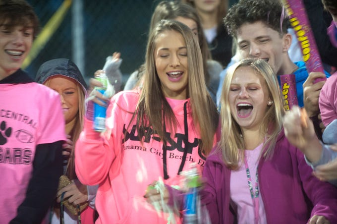 Bullitt Central fans root on their team from the stands. Oct. 12, 2018