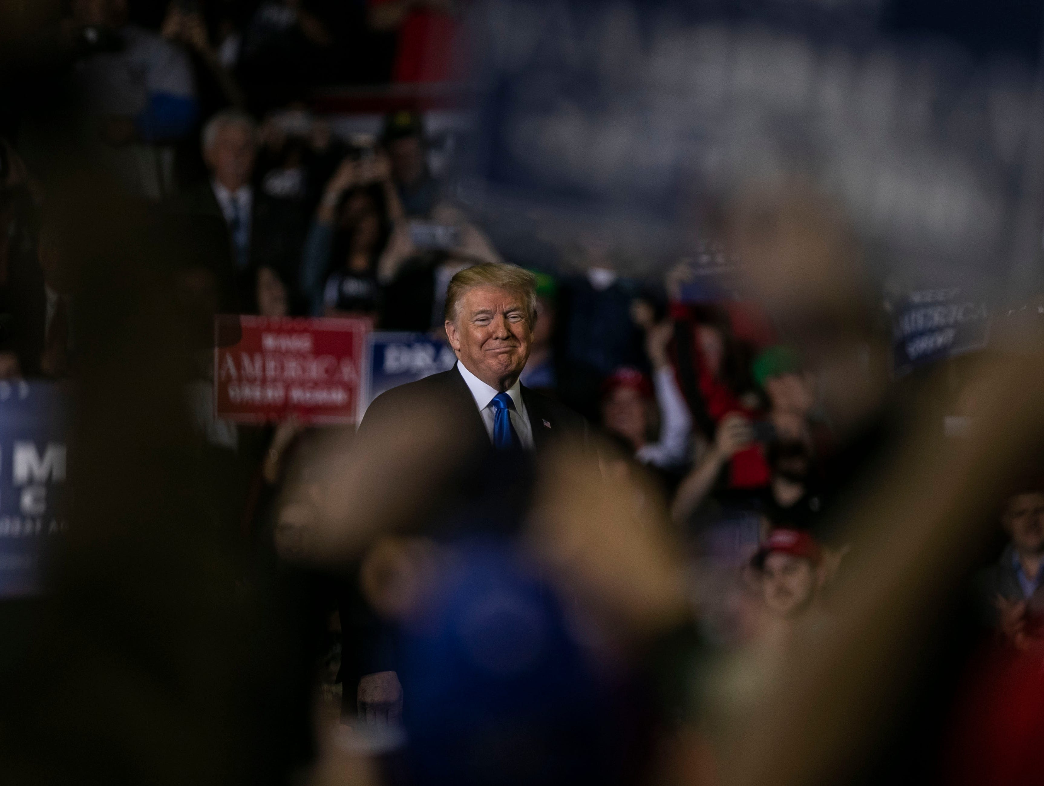 President Donald Trump spoke to cheers from his supporters Saturday night in Richmond at EKU.