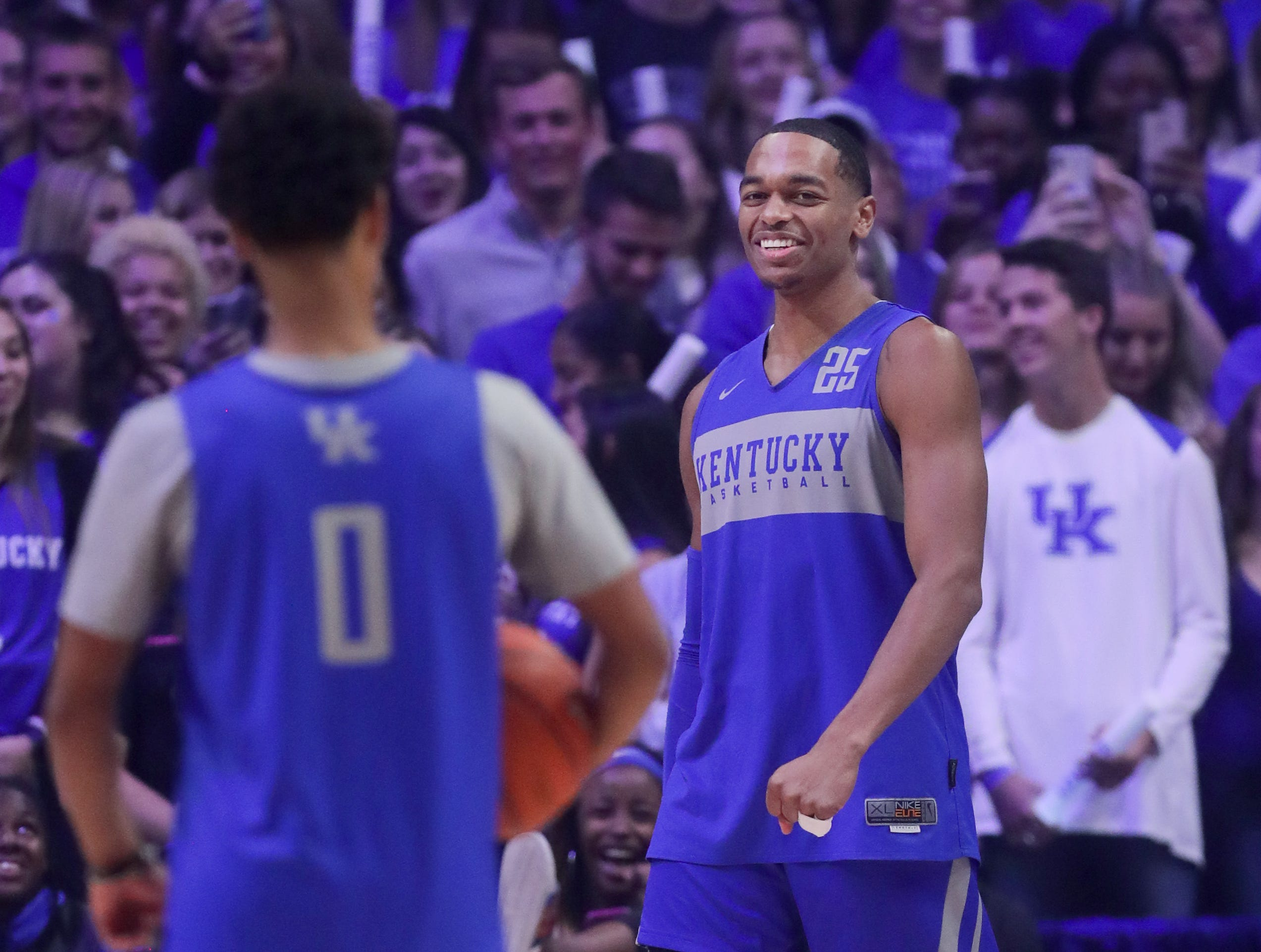 Kentucky PJ Washington was all smiles after his showing in the dunk contest at Big Blue Madness in Lexington, Kentucky.