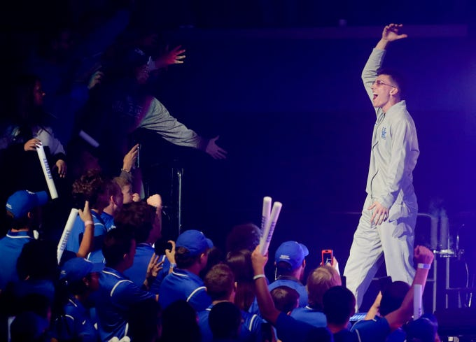 Kentucky Tyler Herro is introduced at Big Blue Madness in Lexington, Kentucky.
