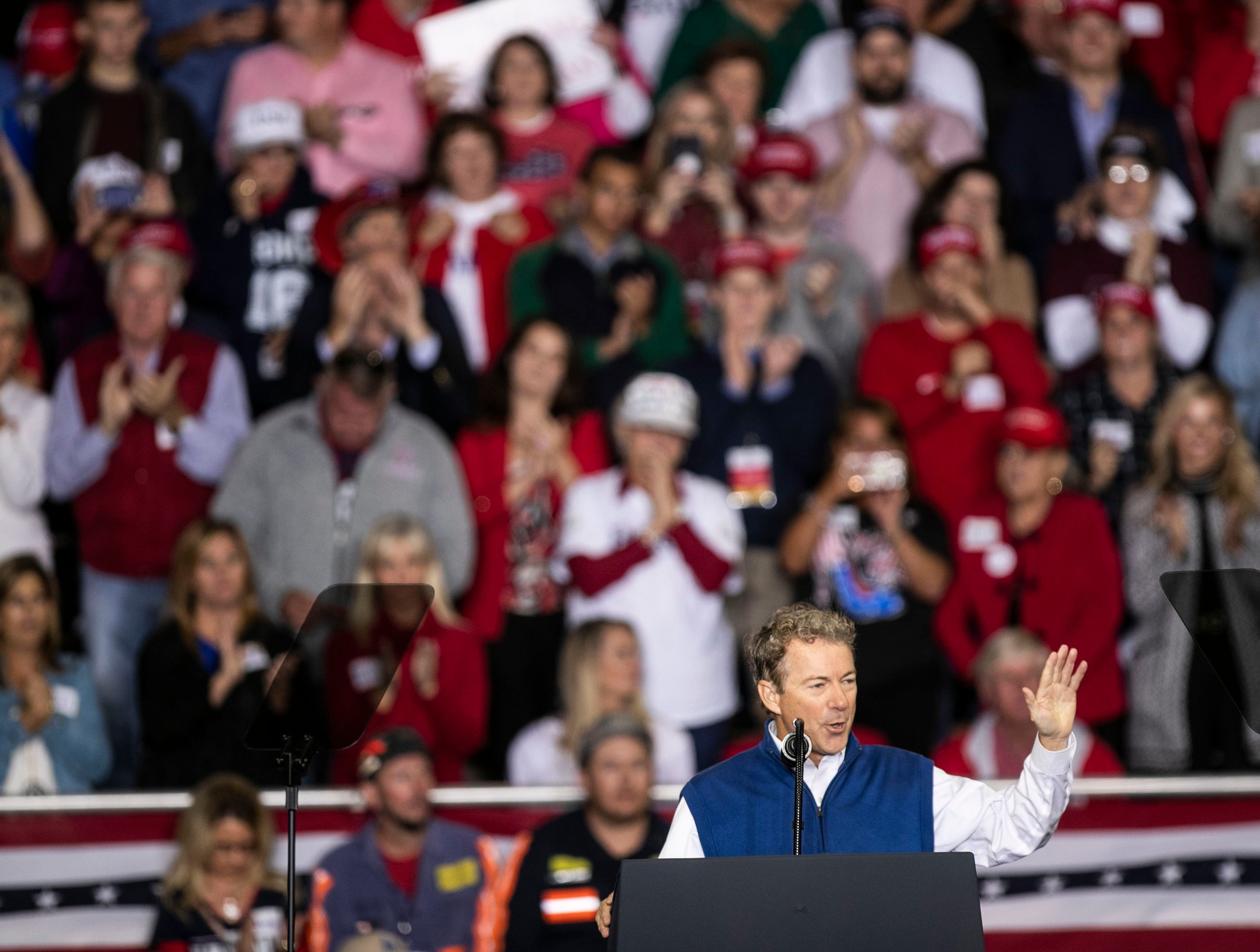 Senator Rand Paul speaks Saturday night in Richmond before President Donald Trump's appearance.