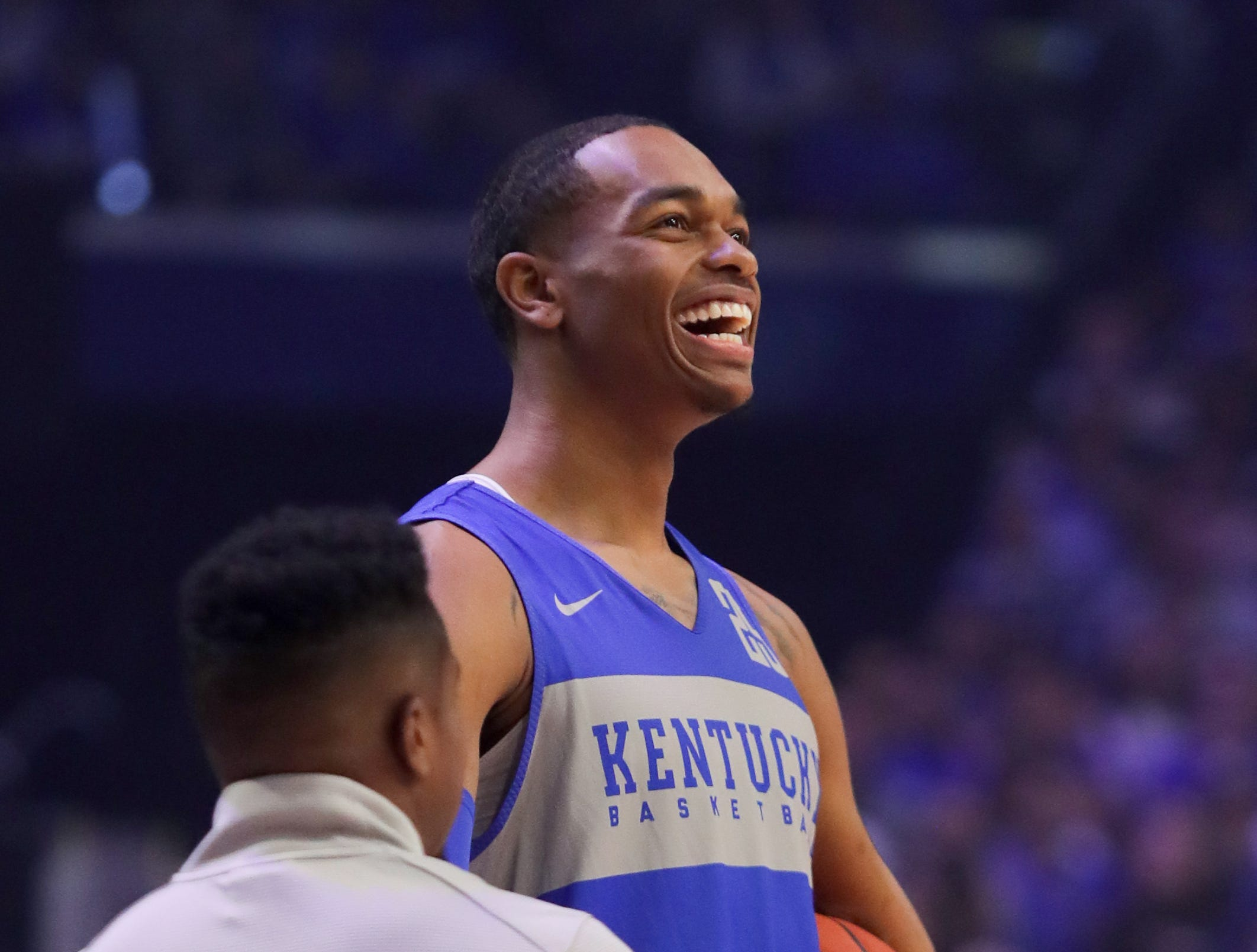 Kentucky PJ Washington was all smiles as we waited his turn during the dunk contest at Big Blue Madness in Lexington, Kentucky.