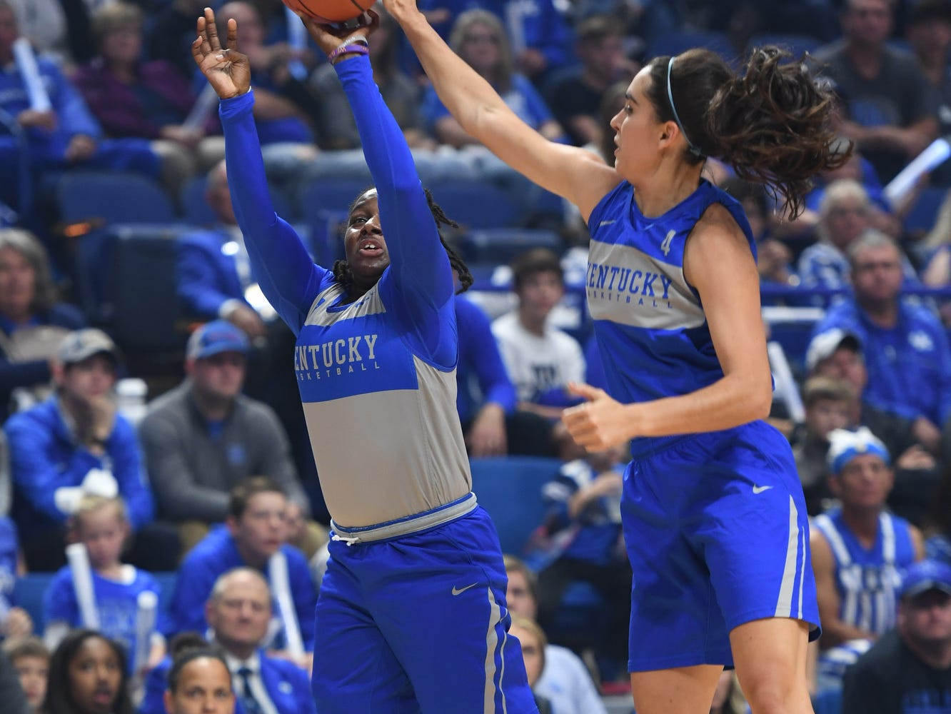 Senior Maci Morris gets a block during the University of Kentucky basketball's annual Big Blue Madness at Rupp Arena in Lexington, Kentucky on Friday, Oct. 12, 2018.