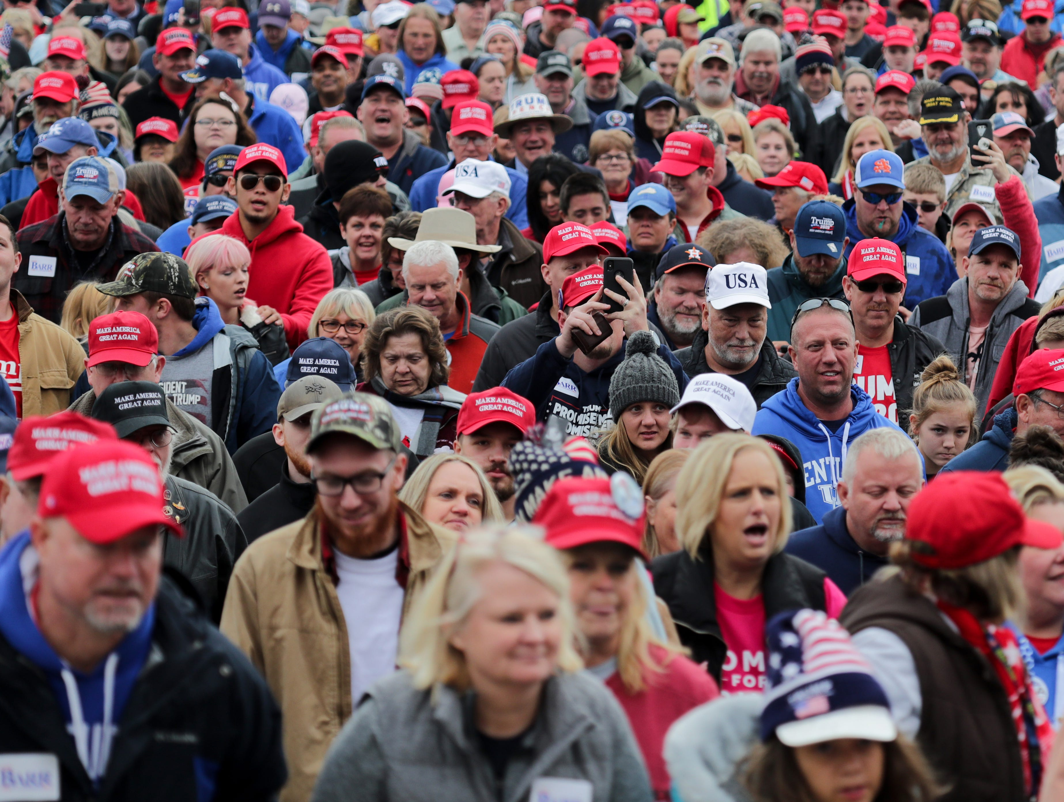 The crowd makes it way to the front doors of Alumni Coliseum to see President Trump at a rally on Eastern Kentucky University. 