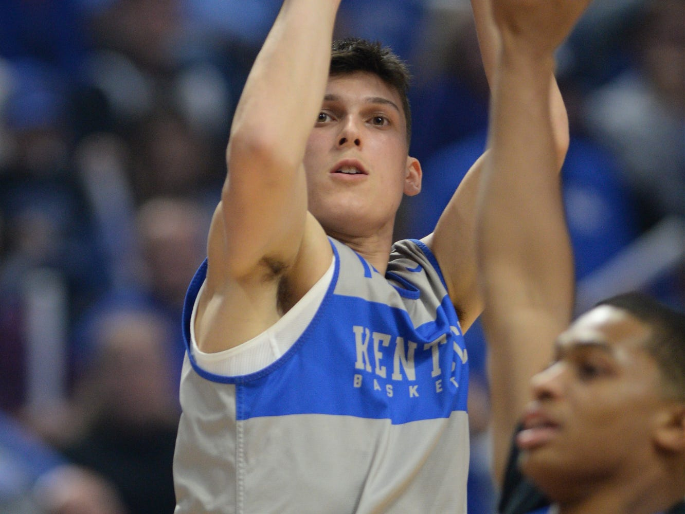 Freshman Tyler Herro shoots a three during the University of Kentucky basketball's annual Big Blue Madness at Rupp Arena in Lexington, Kentucky on Friday, Oct. 12, 2018.