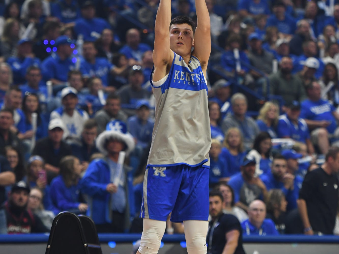 Freshman Tyler Herro shoots during the University of Kentucky basketball's annual Big Blue Madness at Rupp Arena in Lexington, Kentucky on Friday, Oct.  12, 2018.