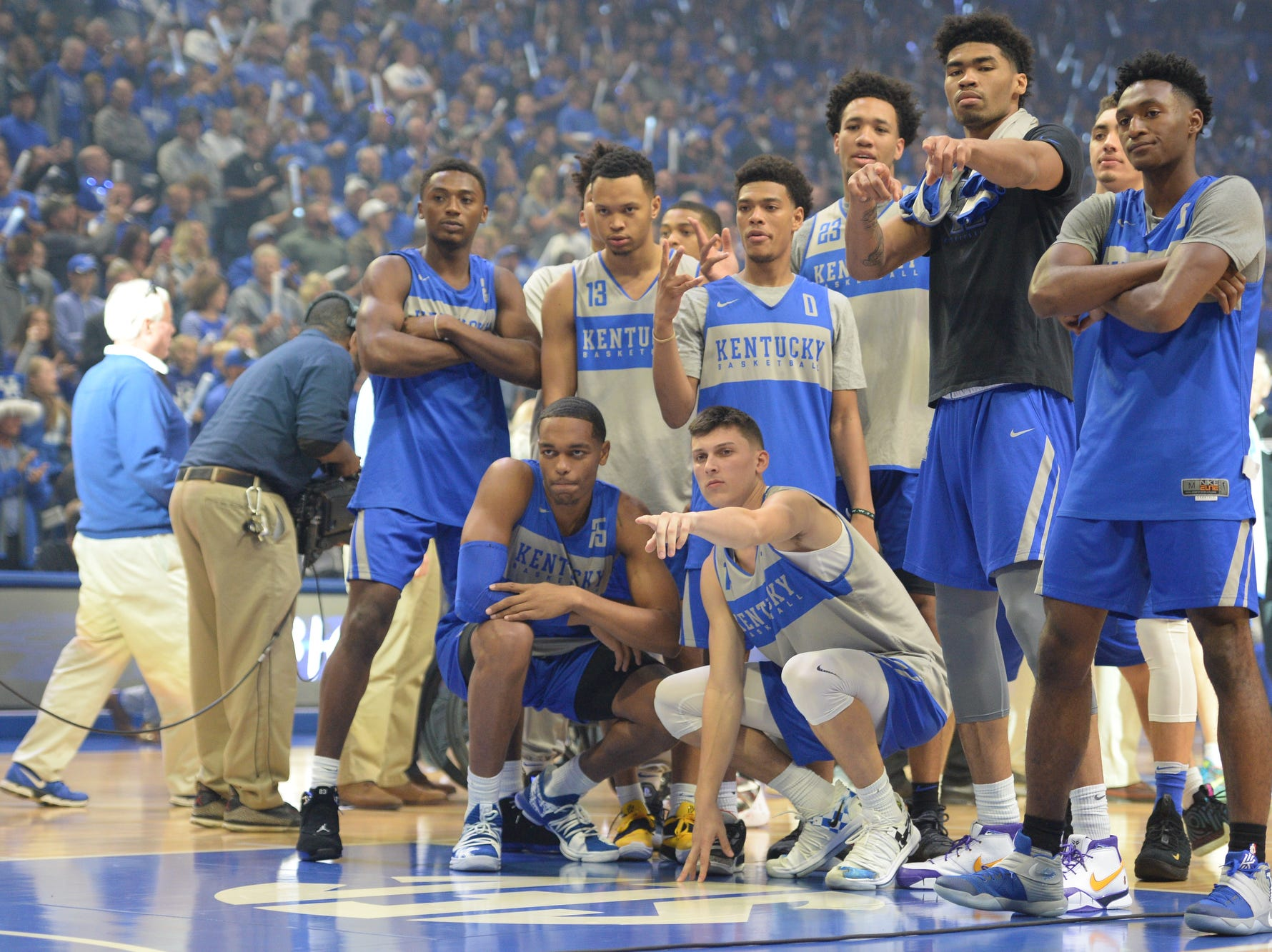 A group of players during the University of Kentucky basketball's annual Big Blue Madness at Rupp Arena in Lexington, Kentucky on Friday, Oct. 12, 2018.