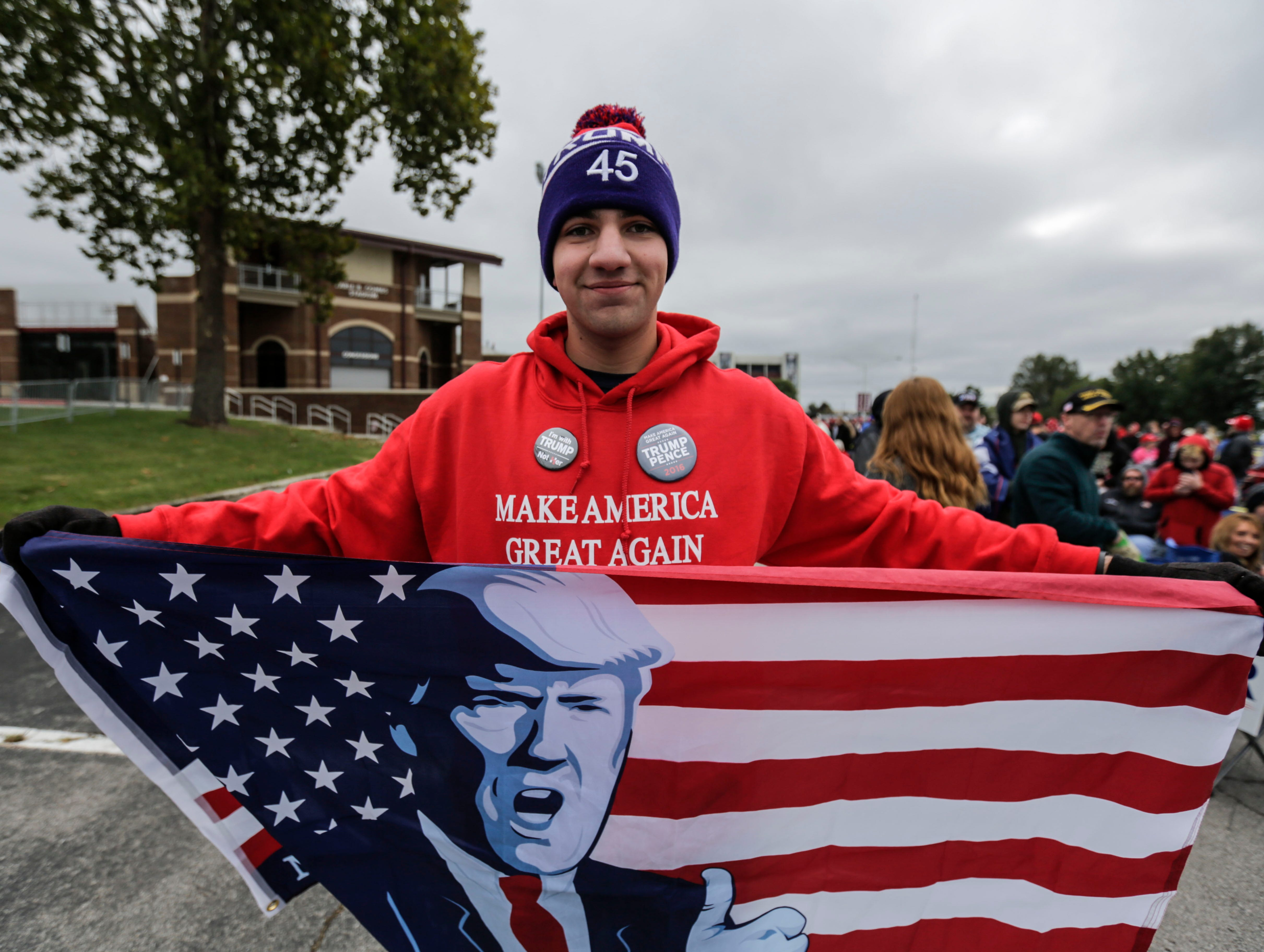 Lorenzo Esquivel is attending his 6th Trump rally. He is traveling from rally to rally to show his support for the President.