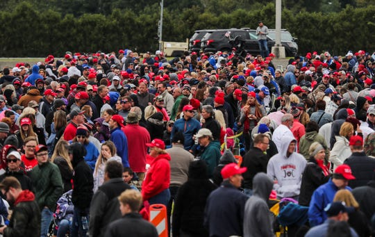 Scenes from the crowd waiting to get into the Trump Rally at Eastern Kentucky University in Richmond, Kentucky.