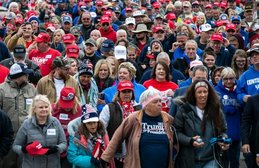 A line of thousands walked towards Alumni Coliseum Saturday afternoon in anticipation for President Donald Trump's speech.