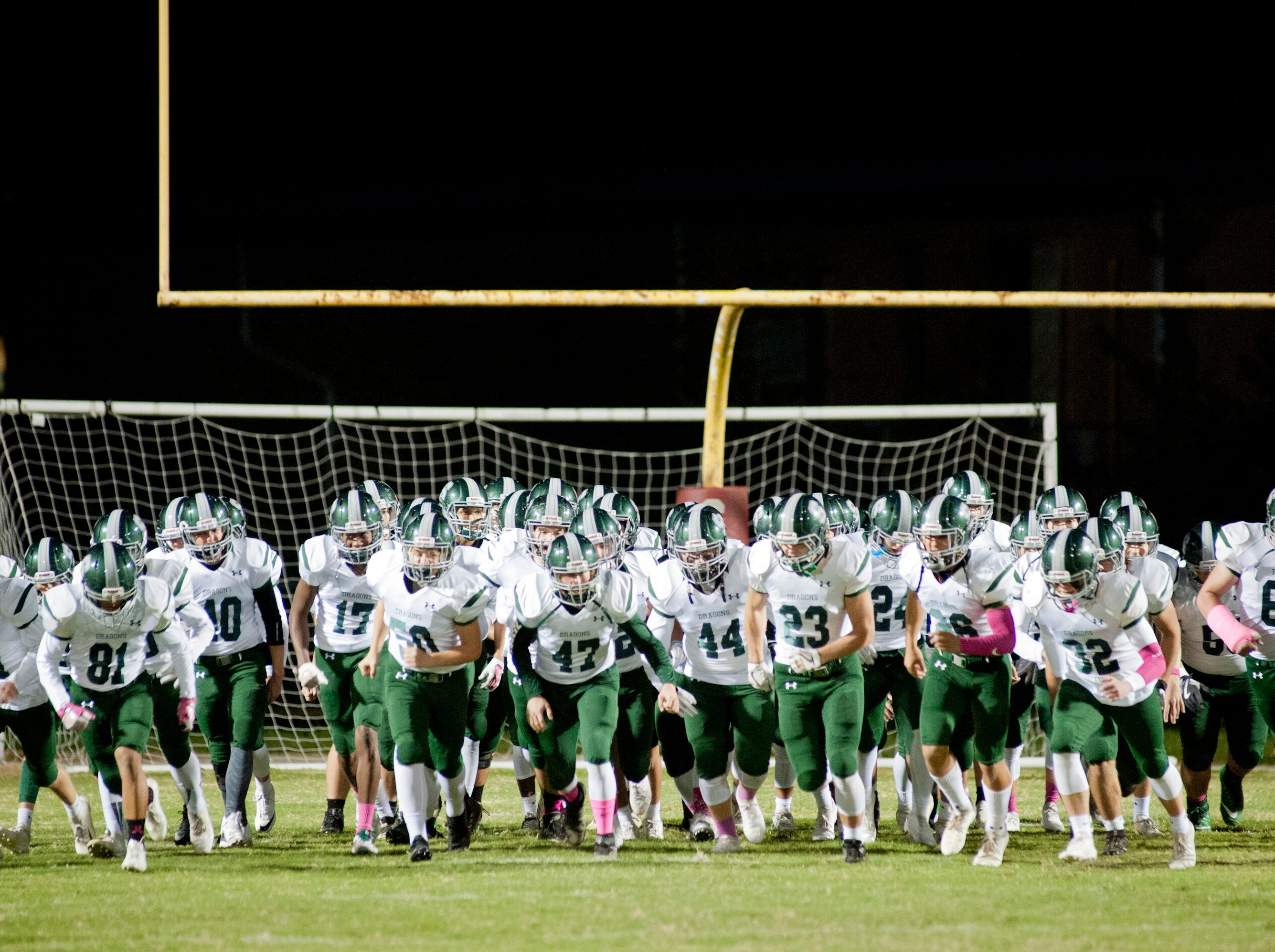 South Oldham takes to the field during the game. Oct. 12, 2018