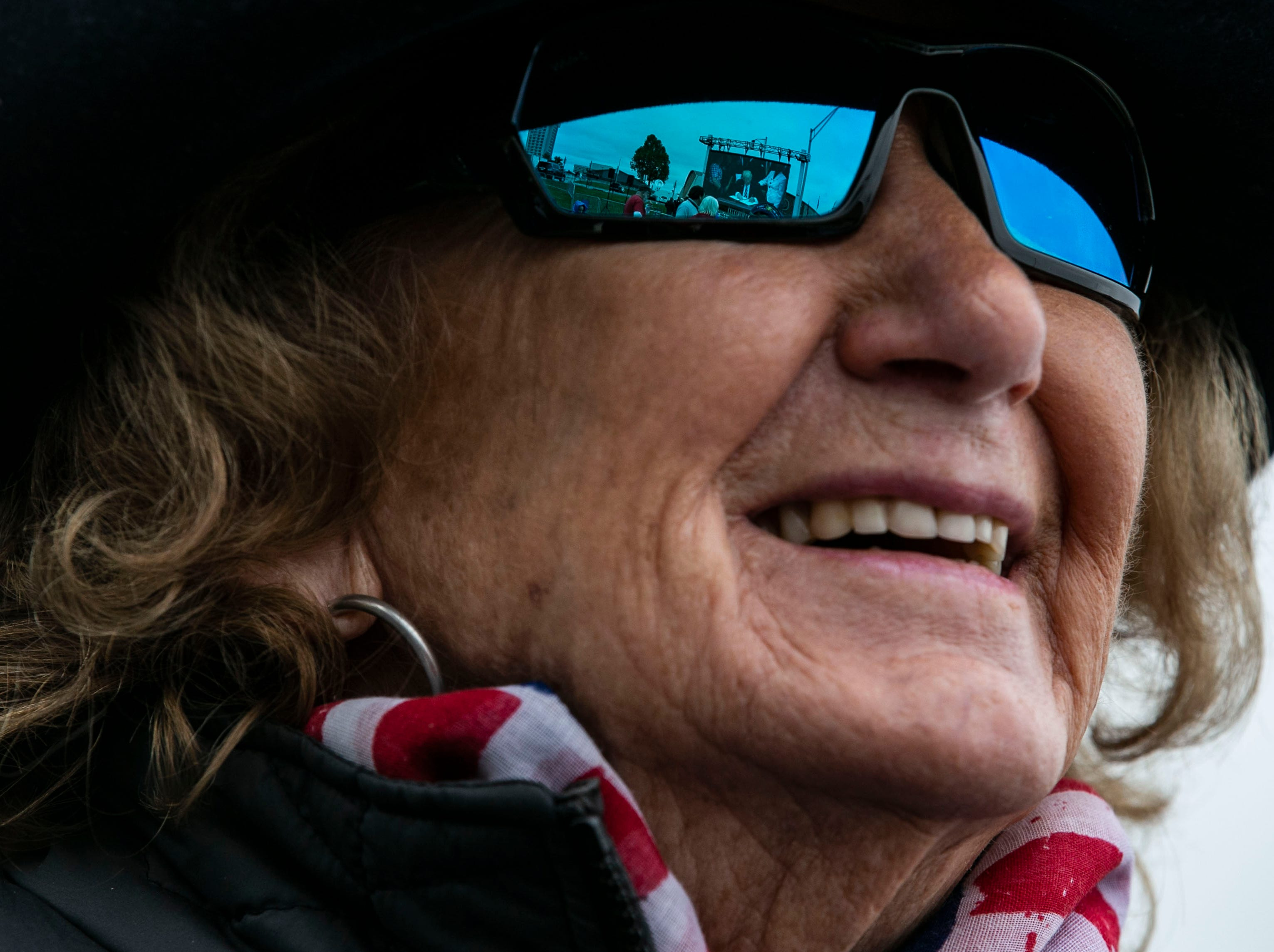 Mary Adkins of Ironton, Ohio, 80, didn't mind the wait in a parking lot outside the Alumni Coliseum for the speech of President Donald Trump later Saturday night.